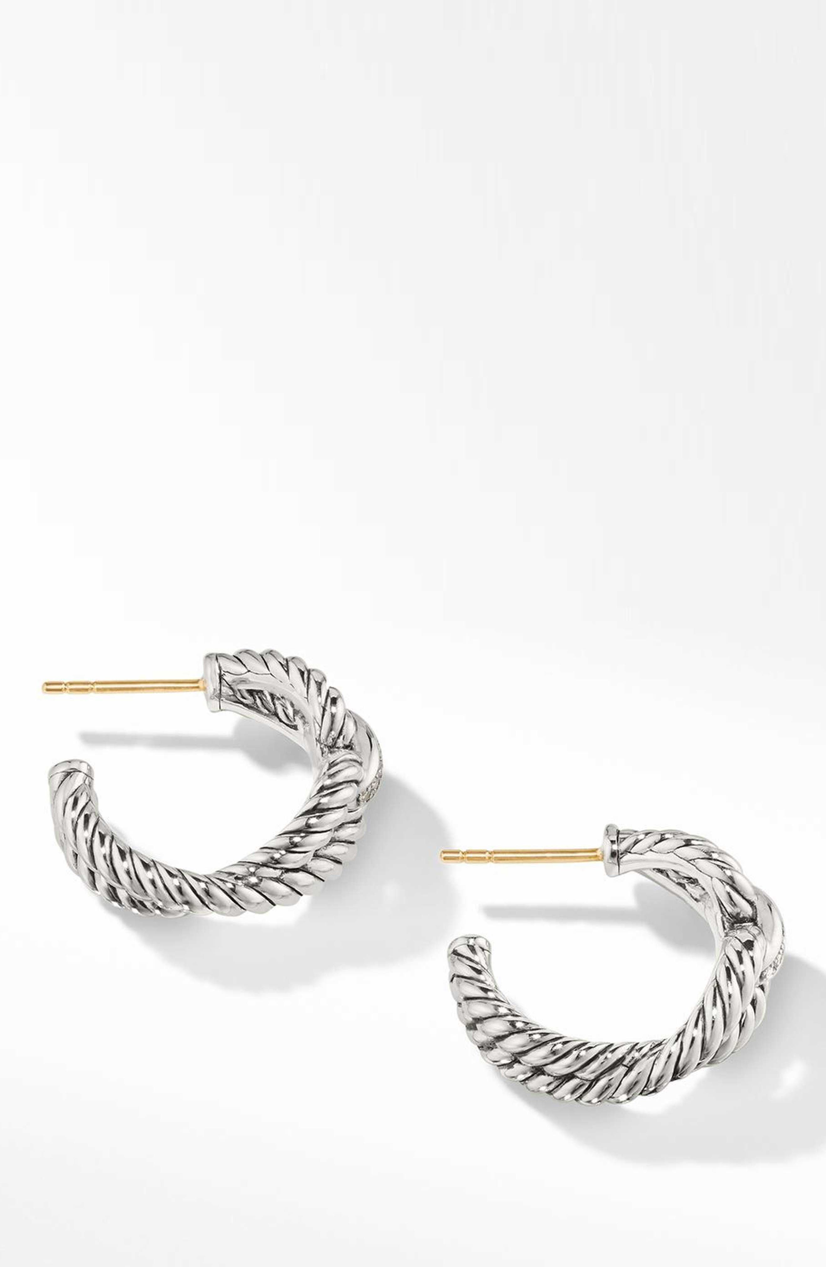 Cable Loop Hoop Earrings with Diamonds,                         Main,                         color, STERLING SILVER/ DIAMOND