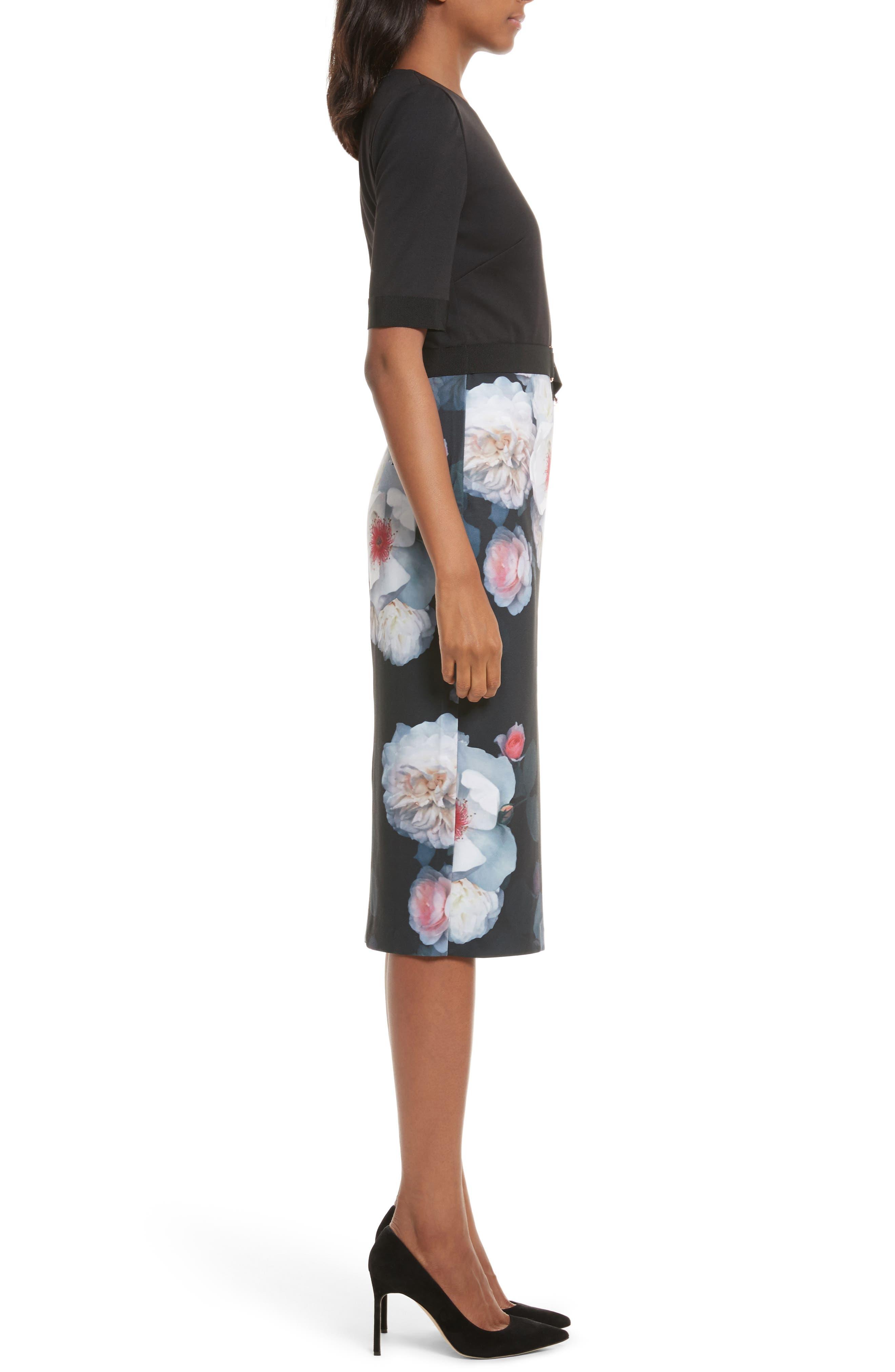 Maason Chelseas Floral Body-Con Dress,                             Alternate thumbnail 3, color,                             001