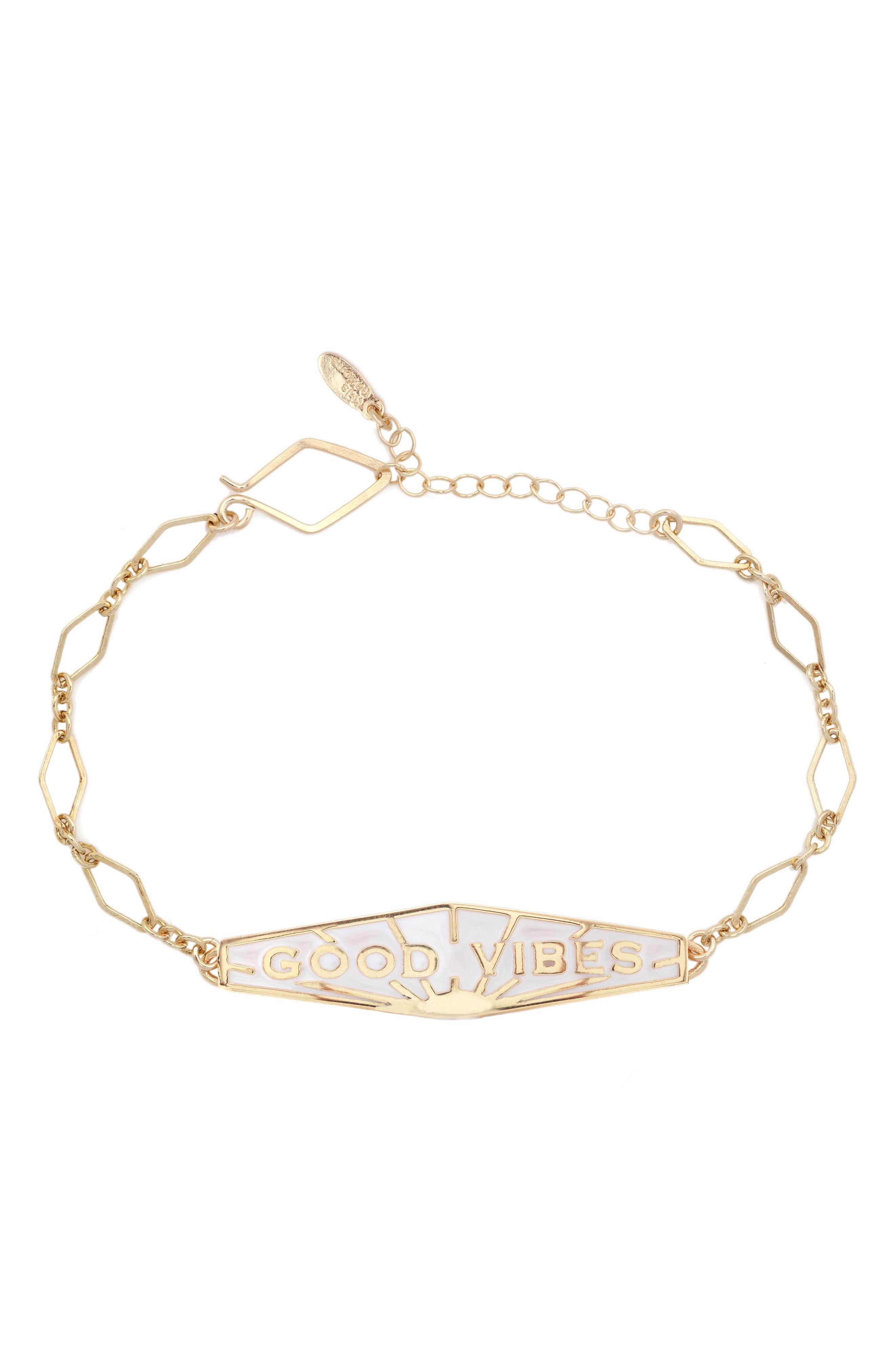 Good Vibes Bracelet, Main, color, GOLD