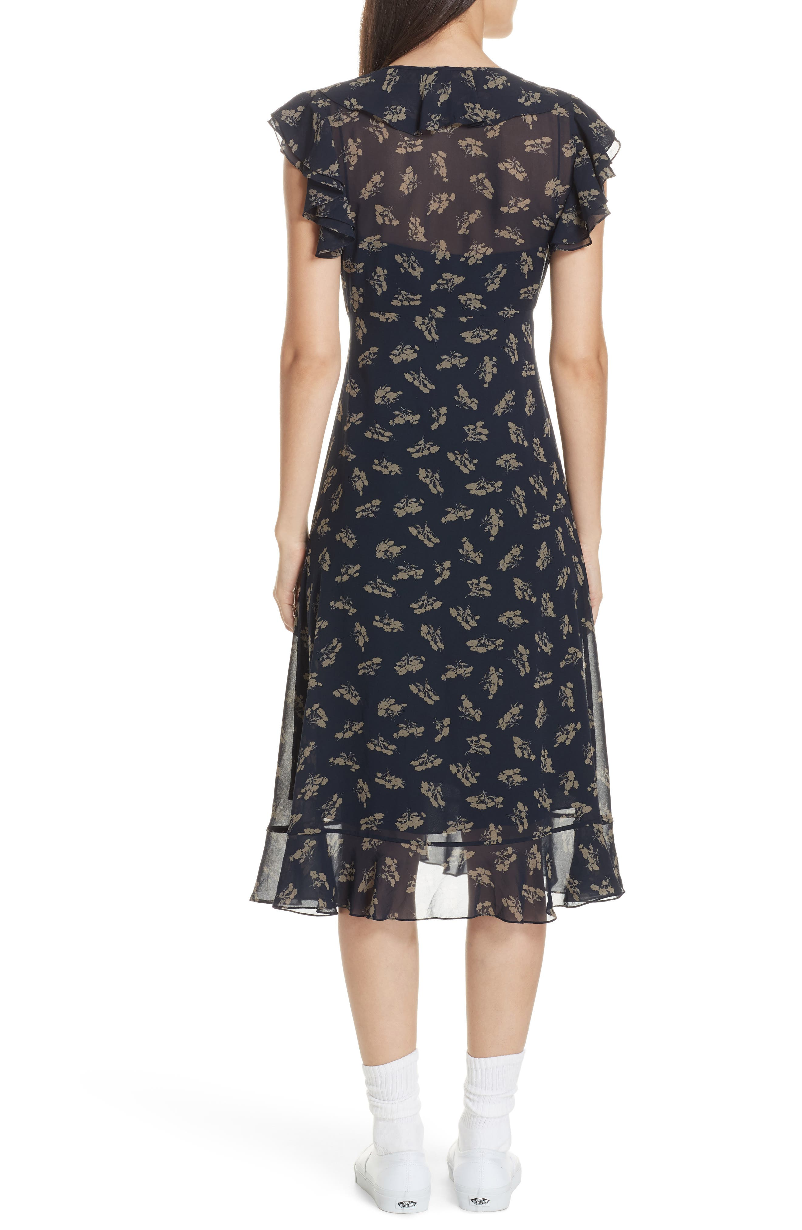 Ruffled Floral Midi Dress,                             Alternate thumbnail 2, color,                             ETCHING FLORAL
