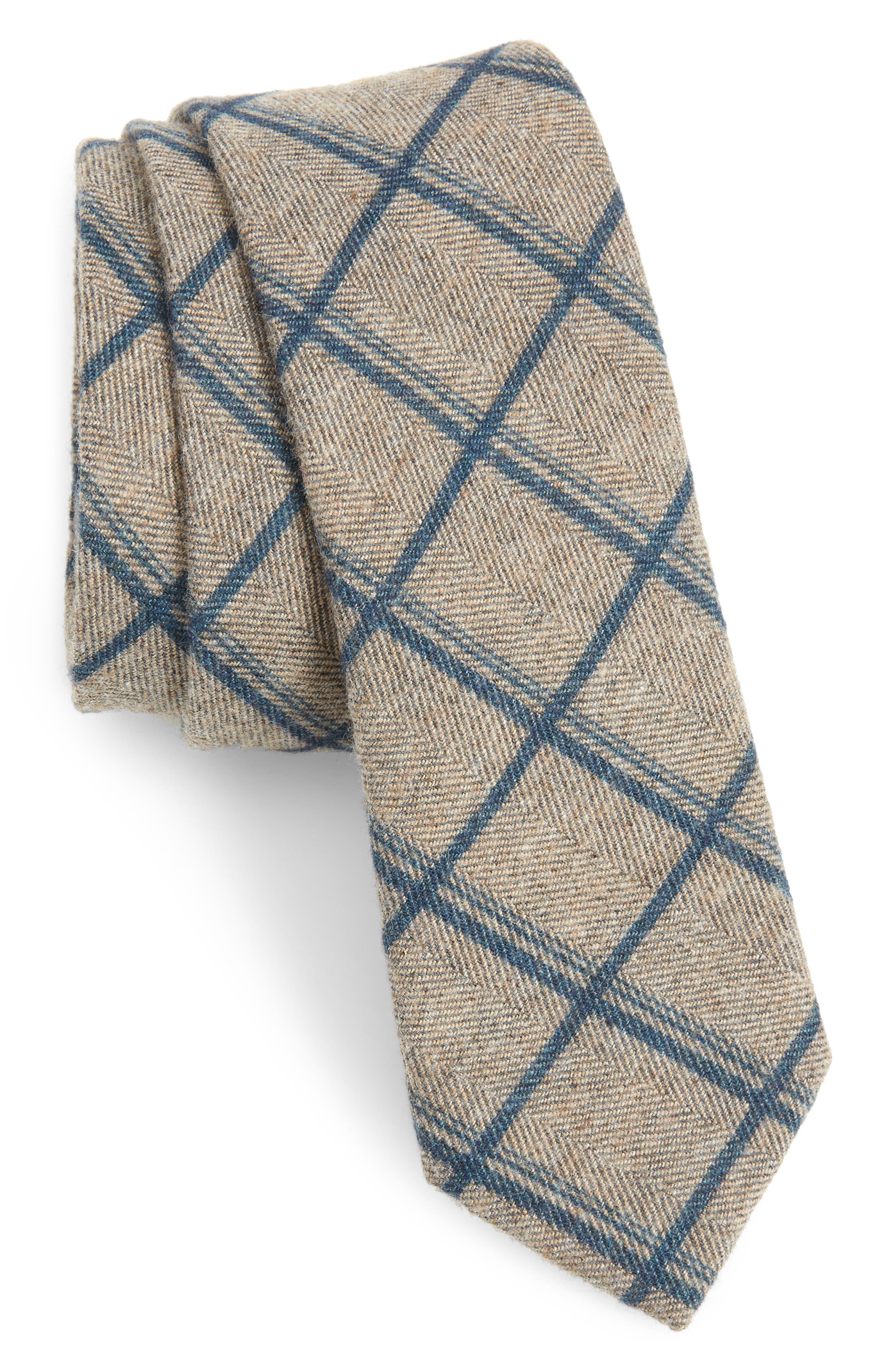 Plaid Cotton Tie,                             Main thumbnail 1, color,                             NAVY