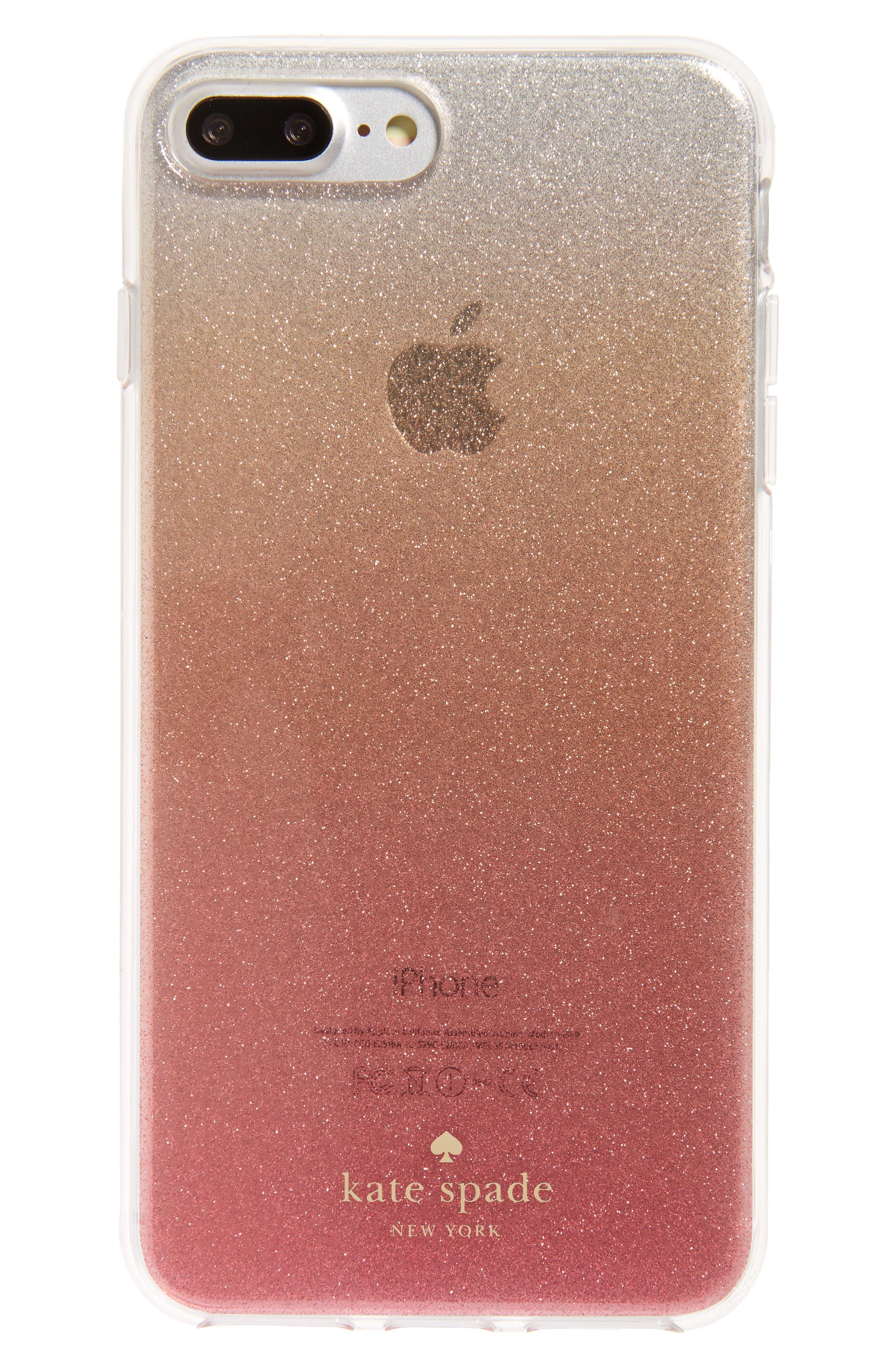 glitter ombré iPhone 7/8 & 7/8 Plus case<br />,                         Main,                         color, PINK GLITTER