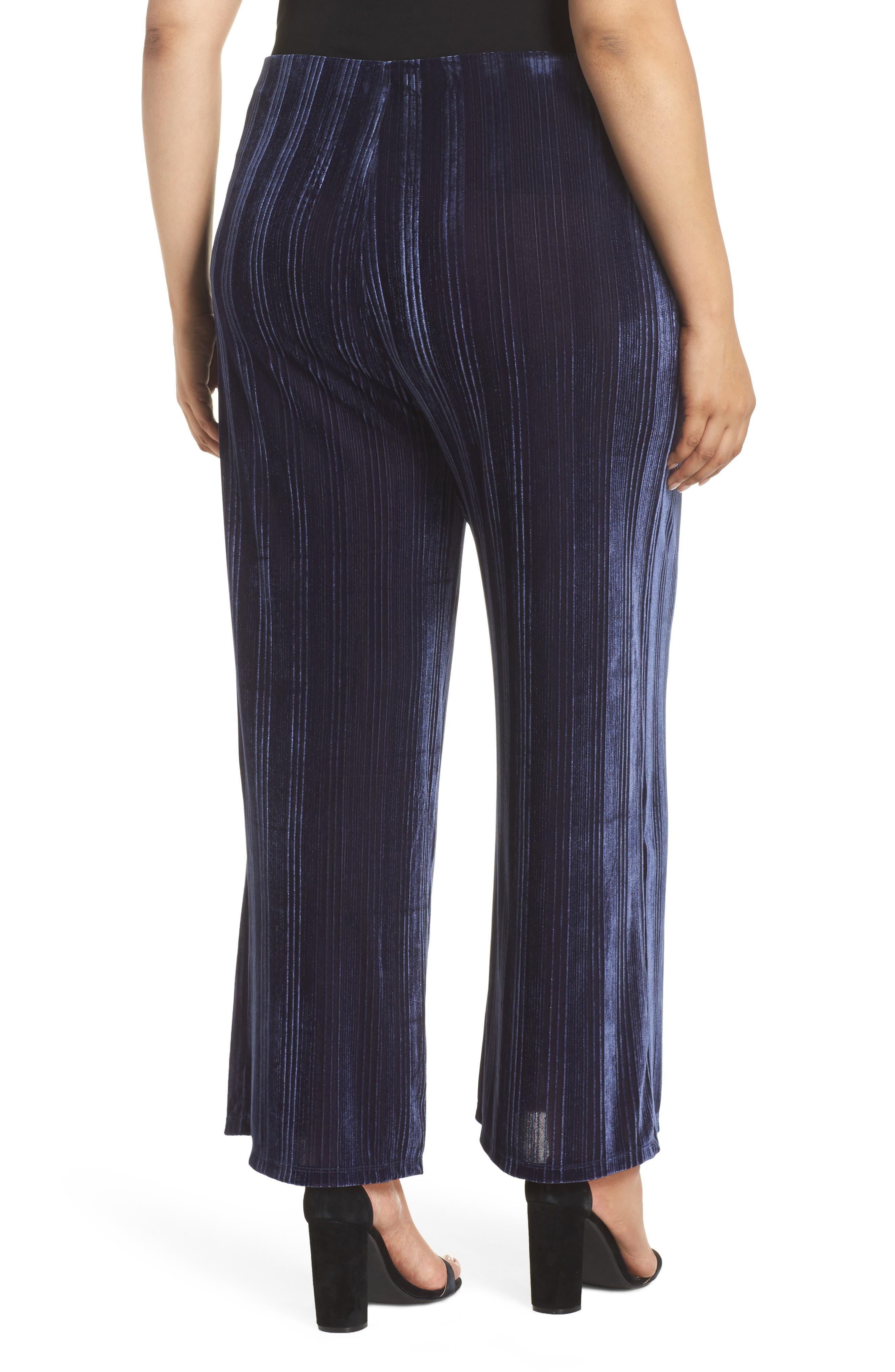 High Rise Velour Wide Leg Crop Pants,                             Alternate thumbnail 2, color,                             NAVY MARITIME