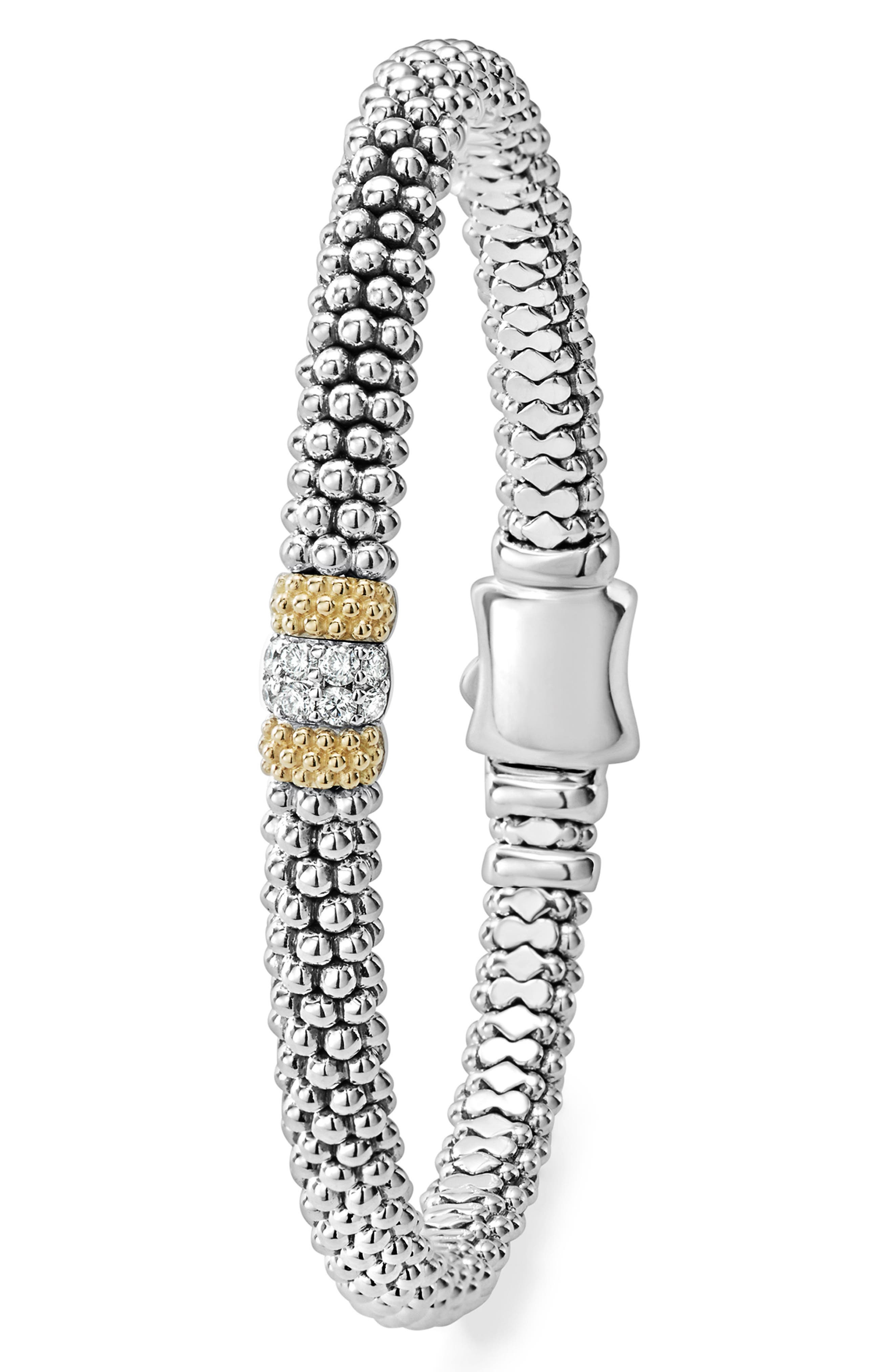 Diamond Lux Pavé Station 6mm Bracelet,                             Alternate thumbnail 3, color,                             DIAMOND