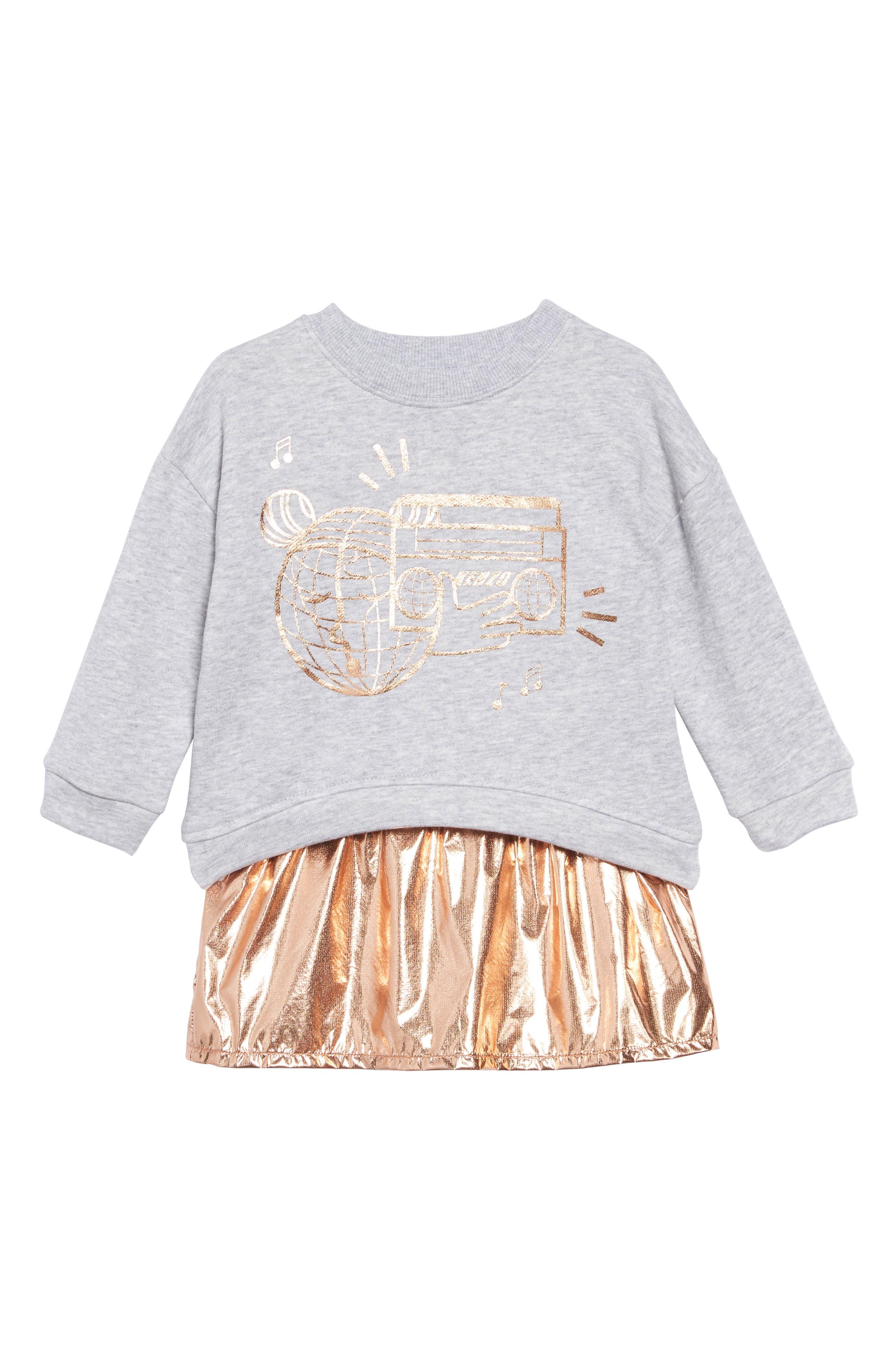Metallic Graphic Sweatshirt & Dress Set, Main, color, COPPER