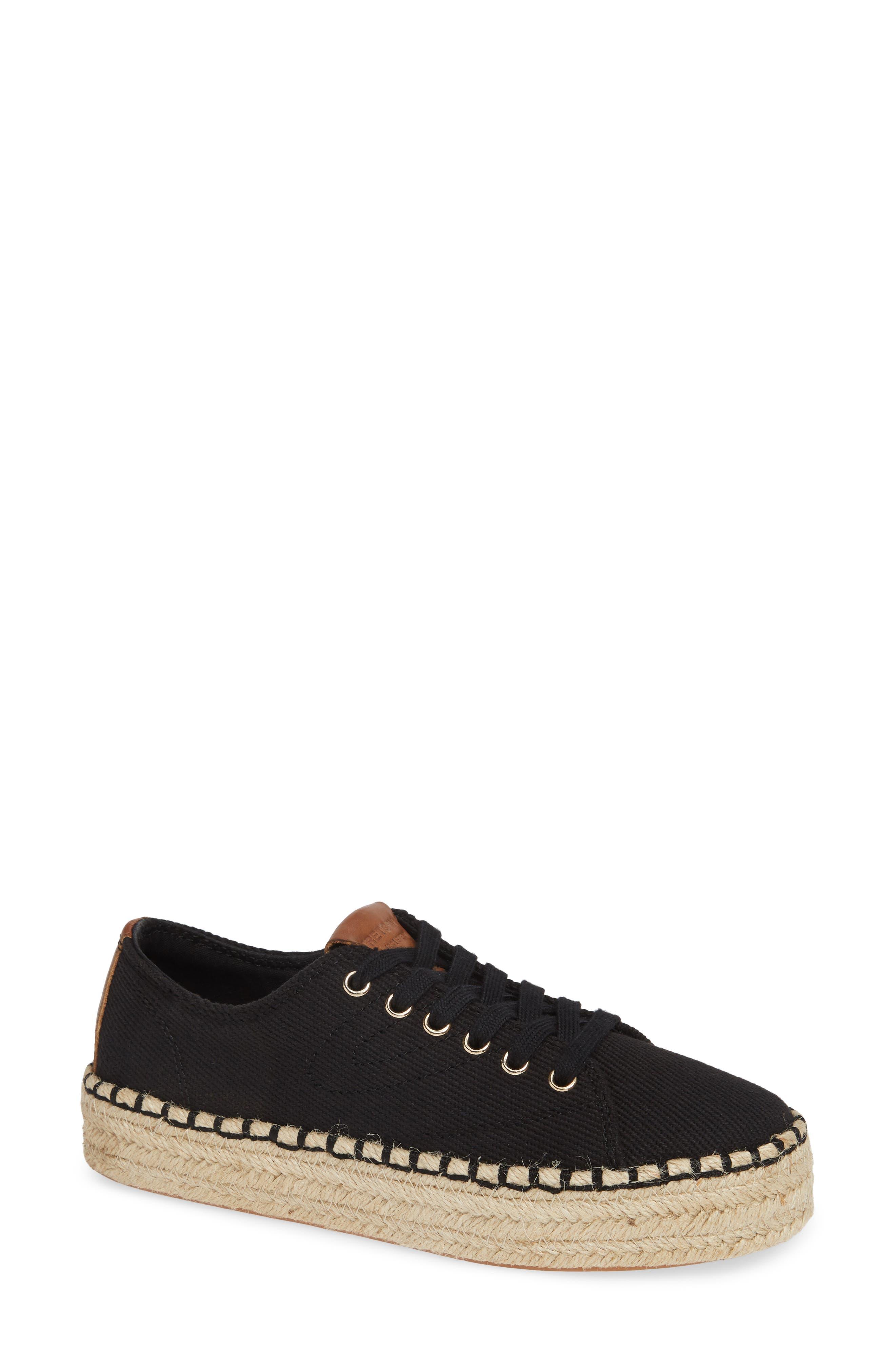 Platform Espadrille Sneaker,                             Main thumbnail 1, color,                             BLACK/ KONA TAN FABRIC