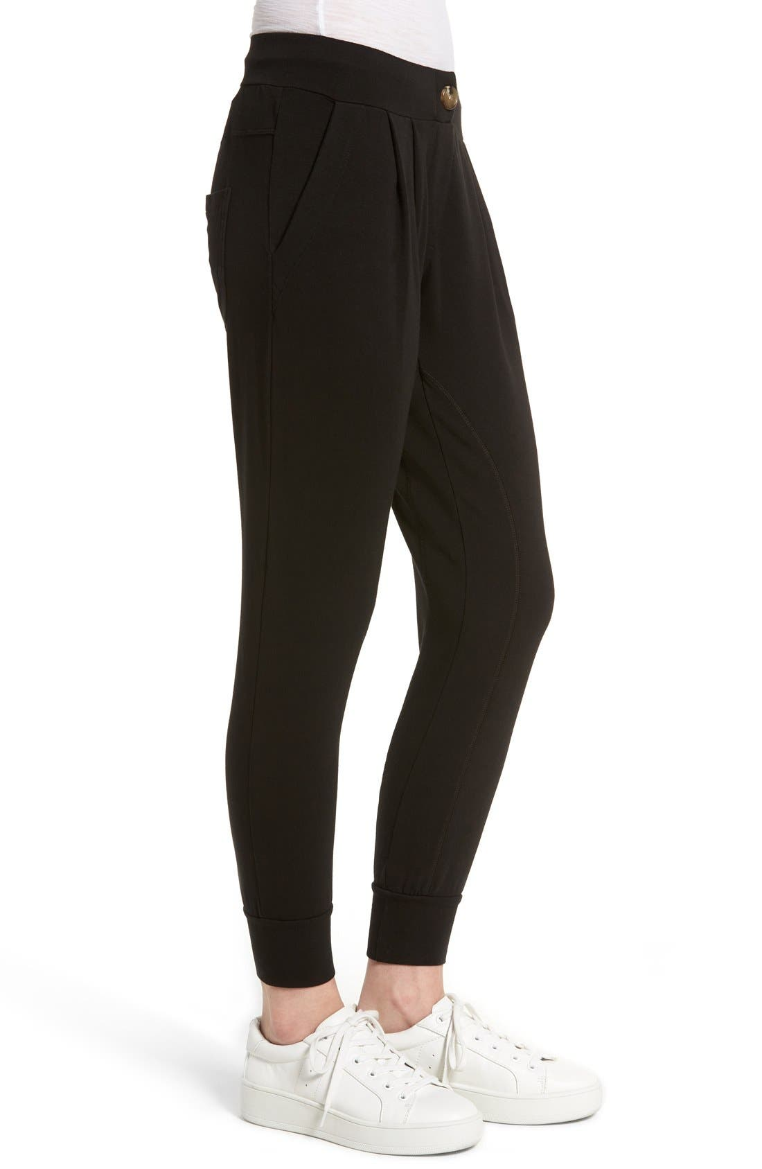 Jamie Stretch Jersey Jogger Pants,                             Alternate thumbnail 3, color,                             001