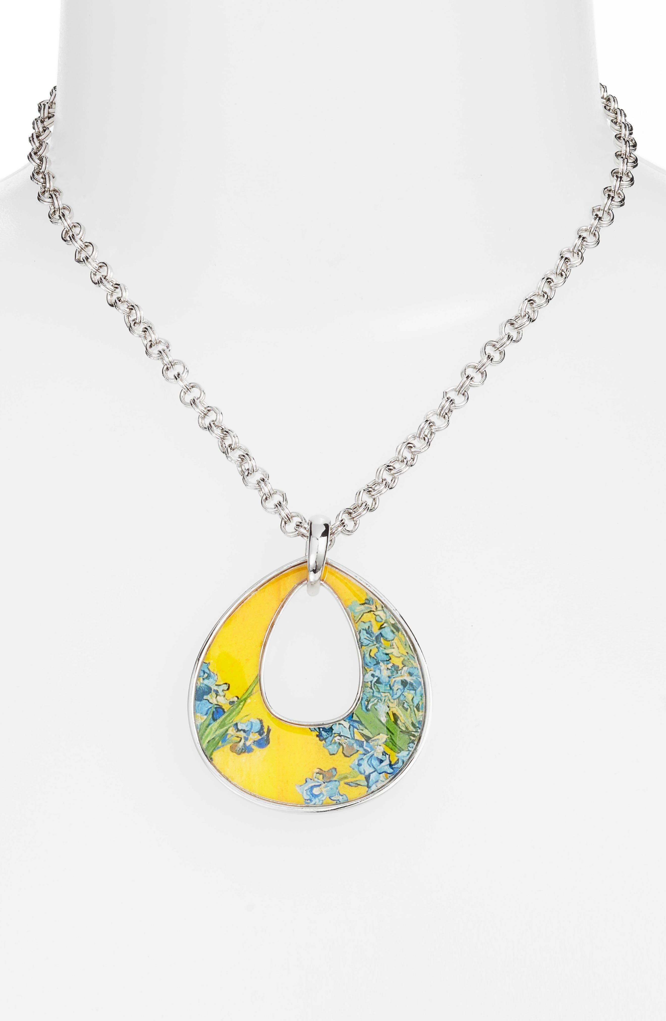 Silvertone Irises Open Teardrop Pendant Necklace,                             Alternate thumbnail 3, color,                             MULTI