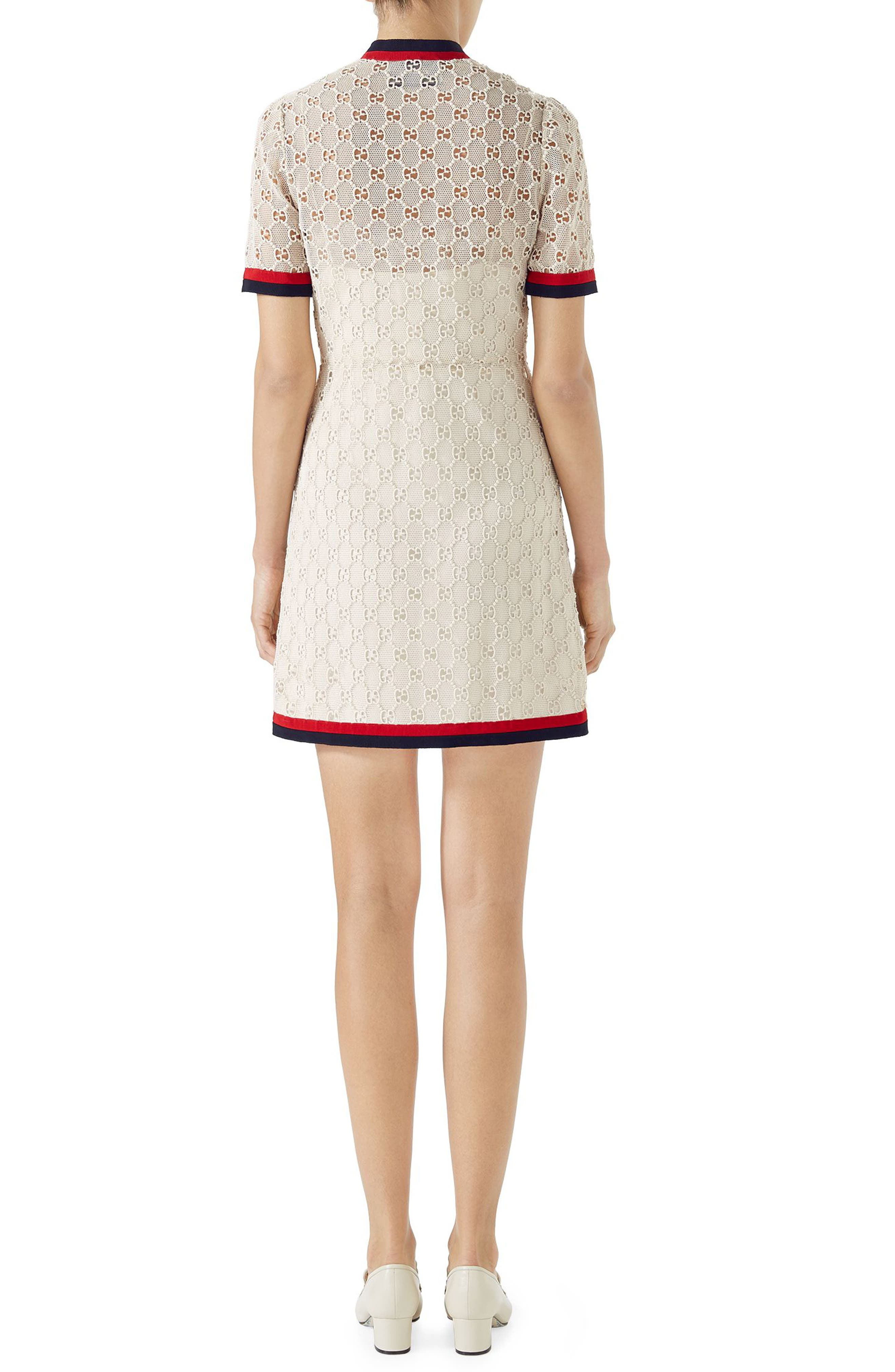 GG Macramé Dress,                             Alternate thumbnail 2, color,                             GARDENIA/ RED/ BK/ RED