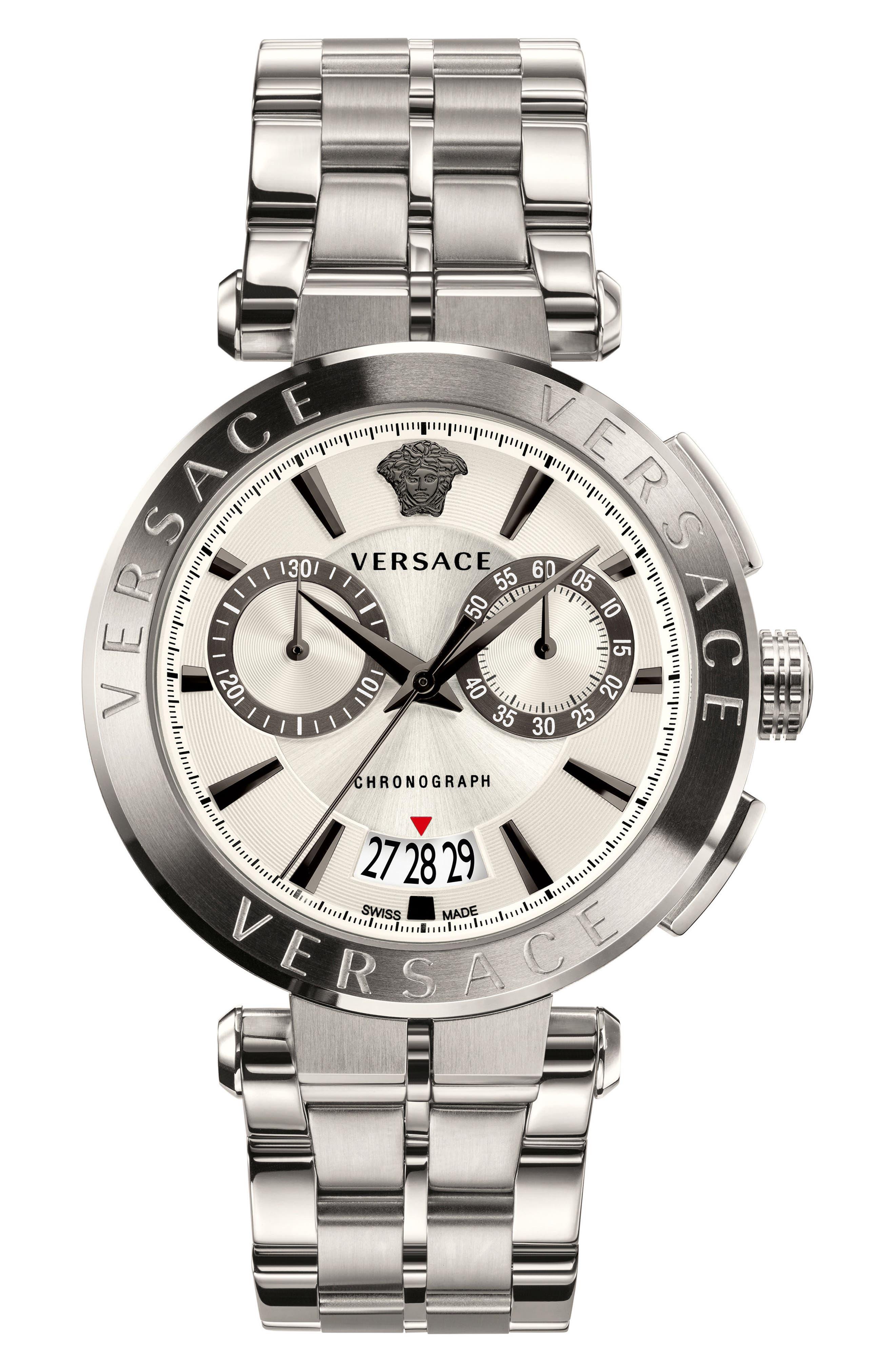 Aion Chronograph Bracelet Watch, 45mm,                             Main thumbnail 1, color,                             SILVER