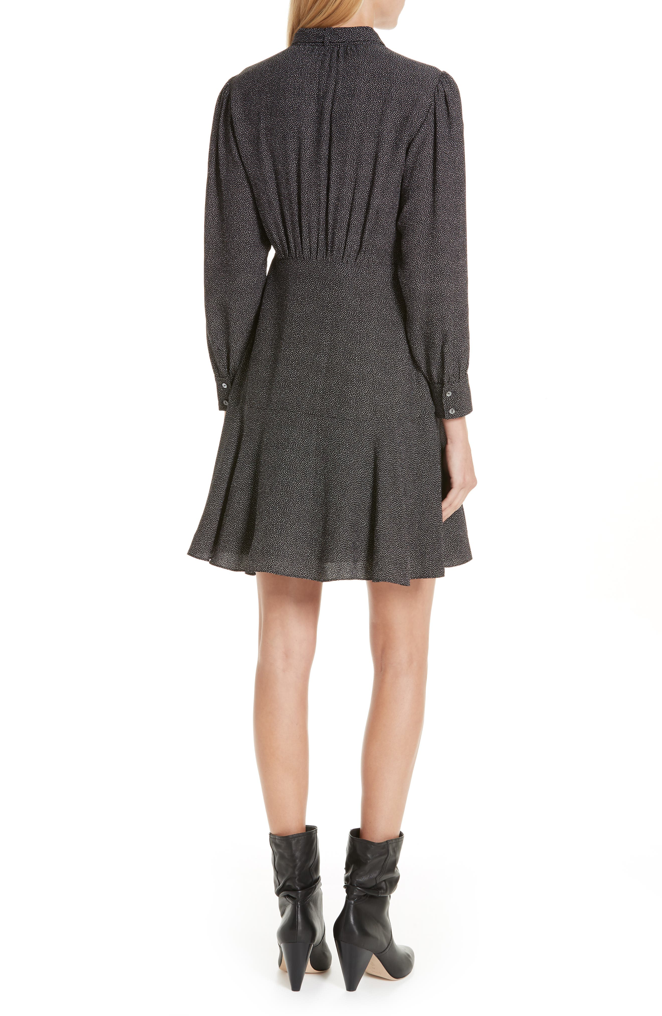 Sprinkle Dot Tie Neck Silk Dress,                             Alternate thumbnail 2, color,                             BLACK