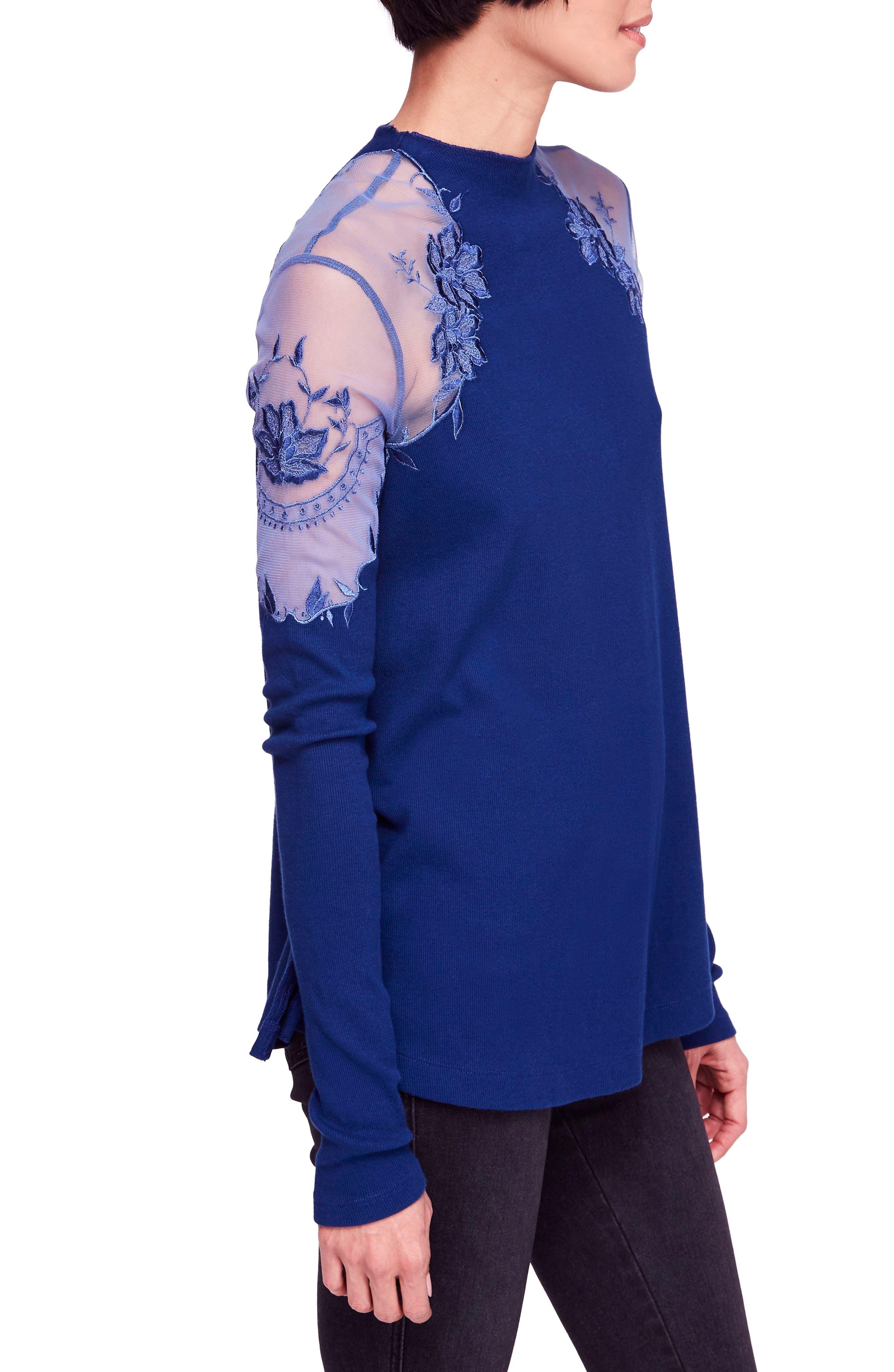Daniella Lace Top,                             Alternate thumbnail 3, color,                             BLUE