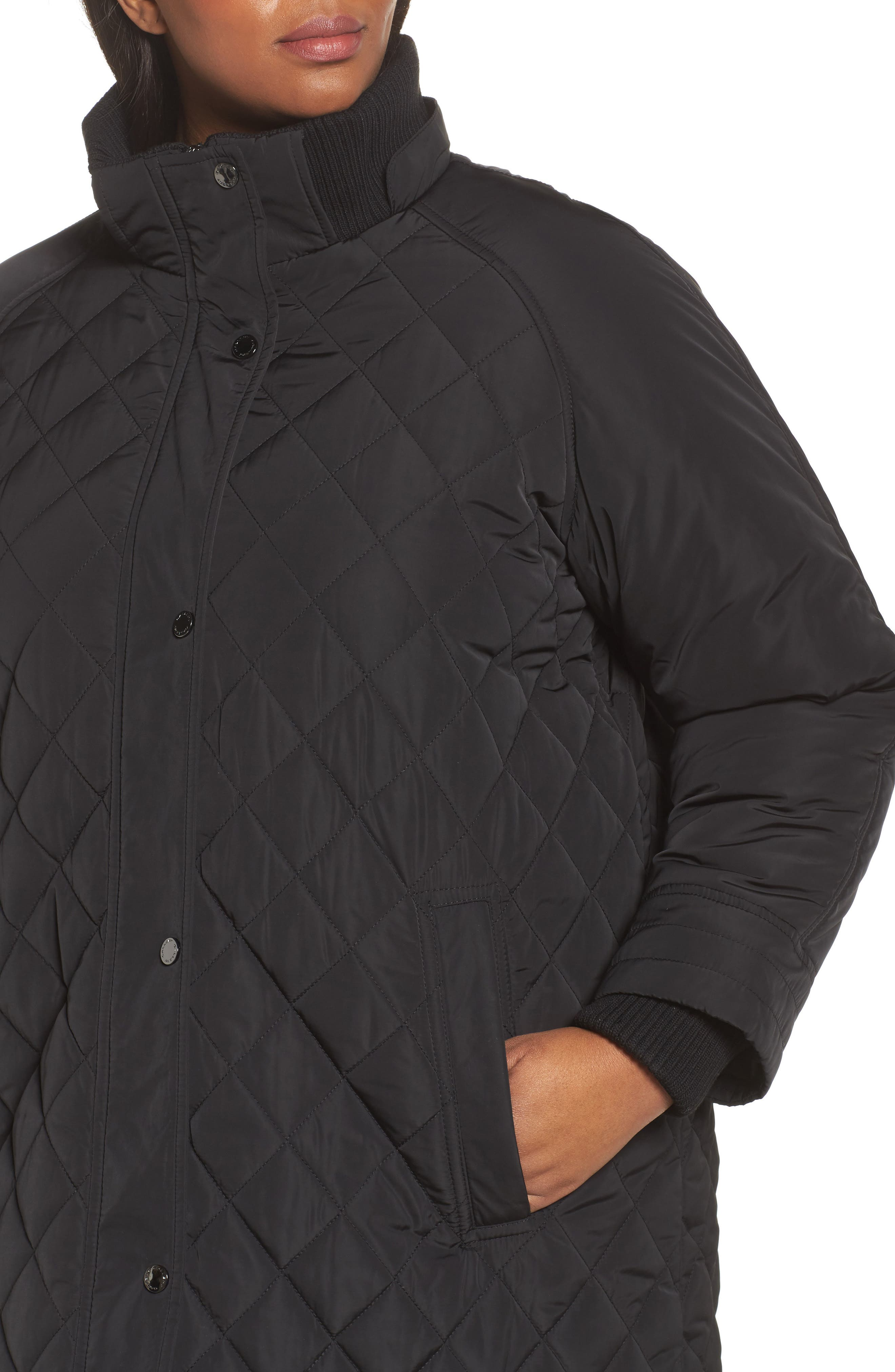 Quilted Hooded Jacket,                             Alternate thumbnail 4, color,                             001
