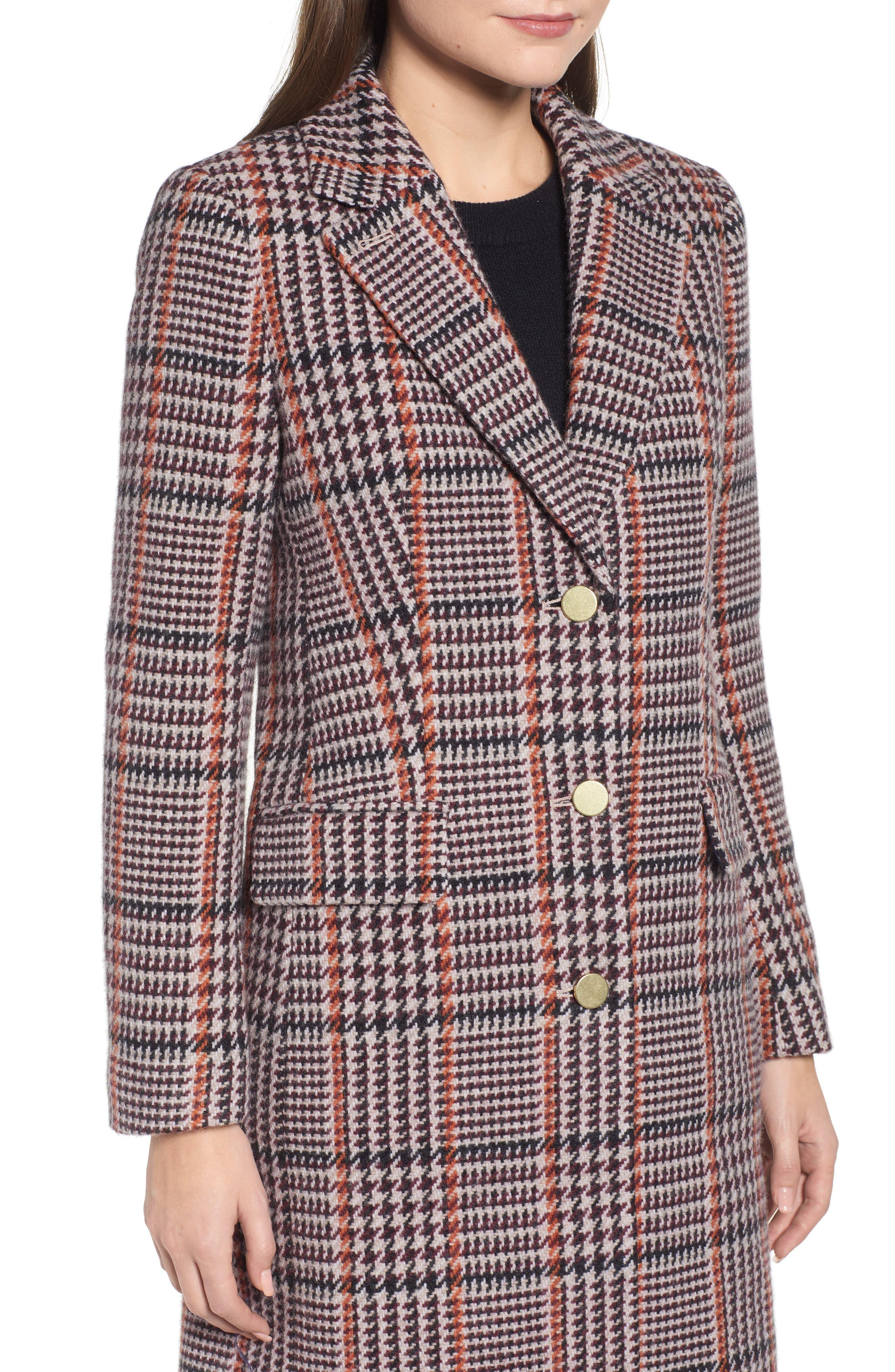 Plaid Single Breasted Topcoat,                             Alternate thumbnail 4, color,                             CABERNET PLAID