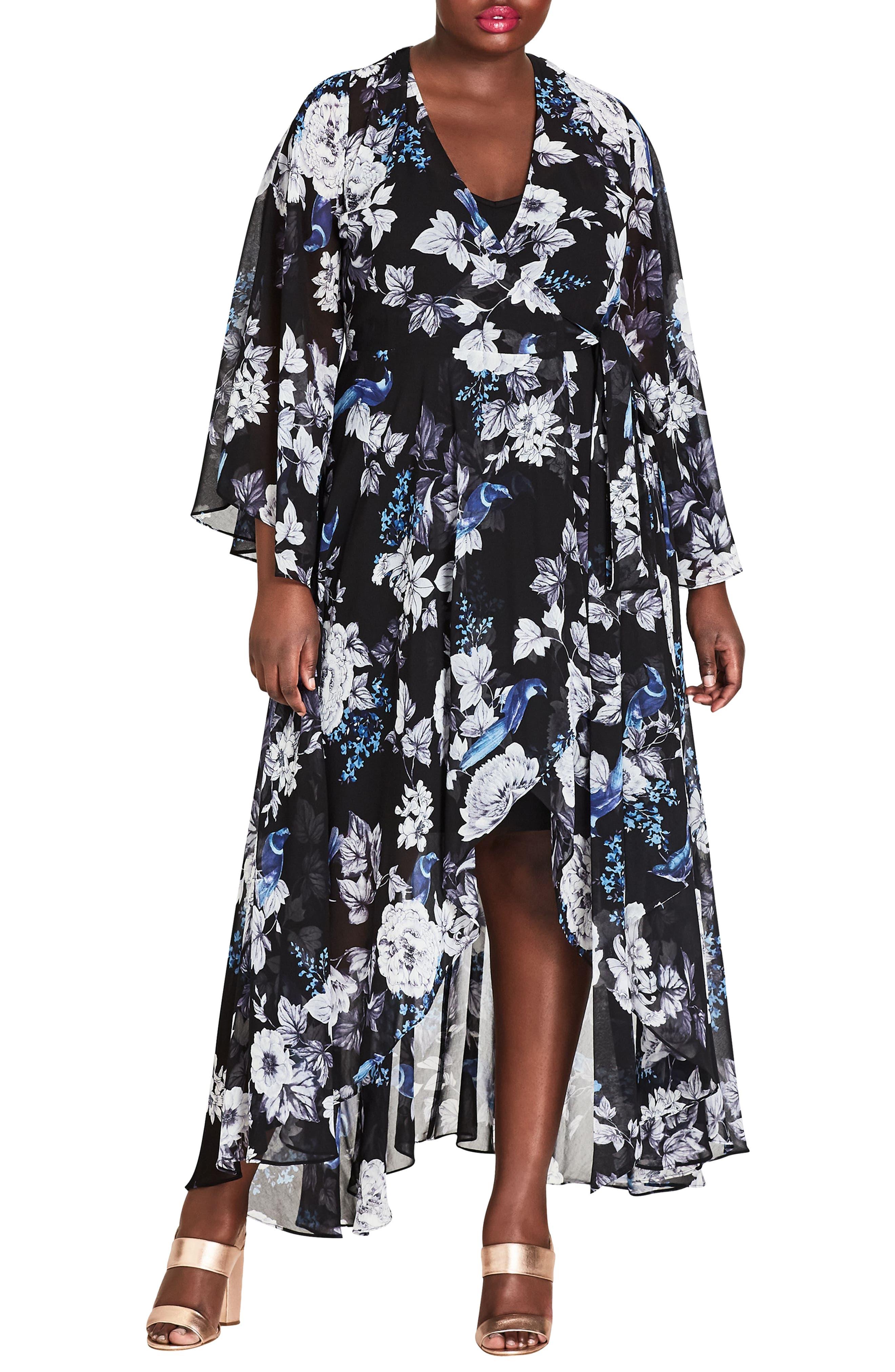 Plus Size City Chic Blackbird Maxi Dress