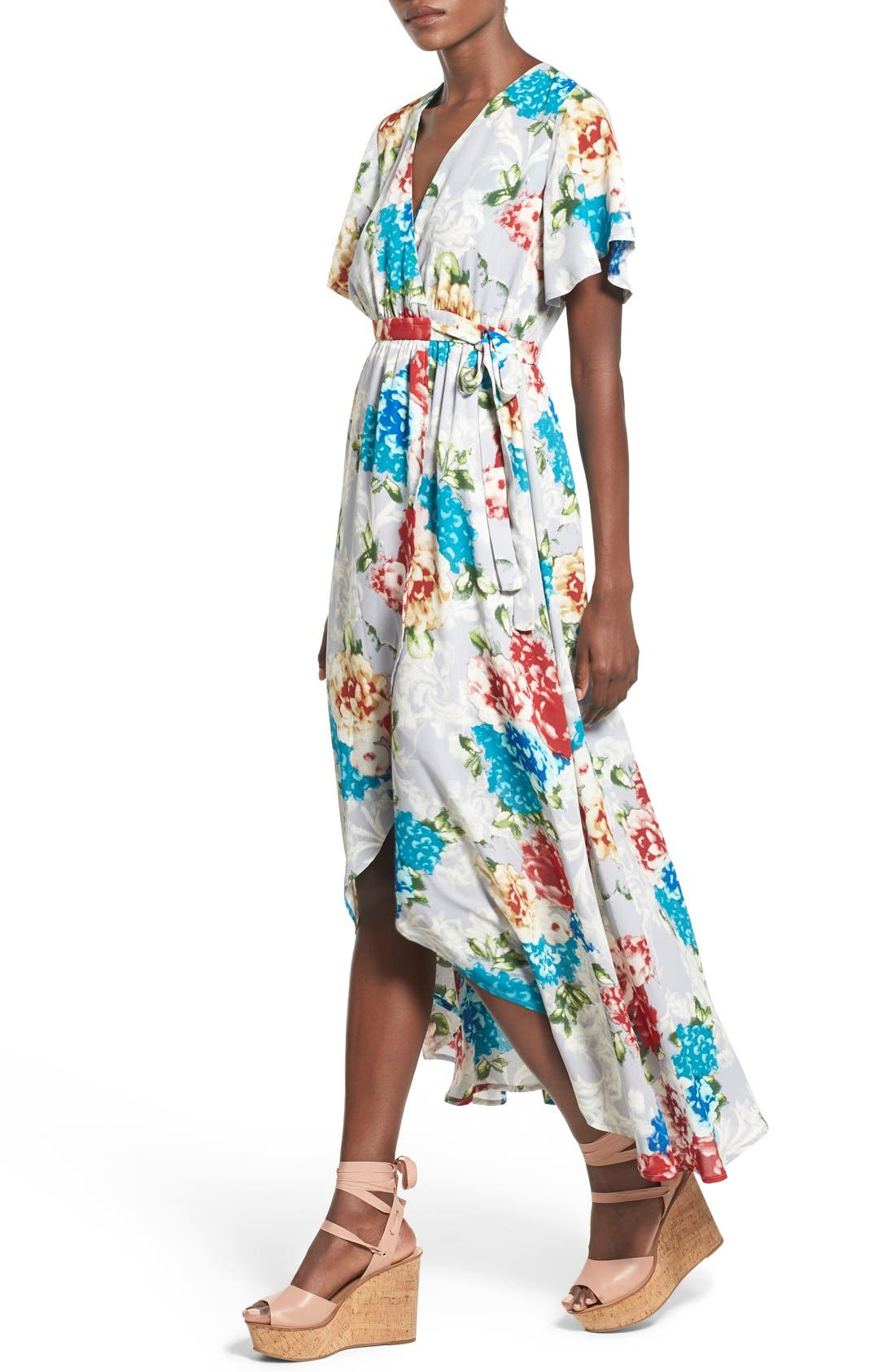 Floral Print High/Low Wrap Dress,                             Alternate thumbnail 2, color,                             020