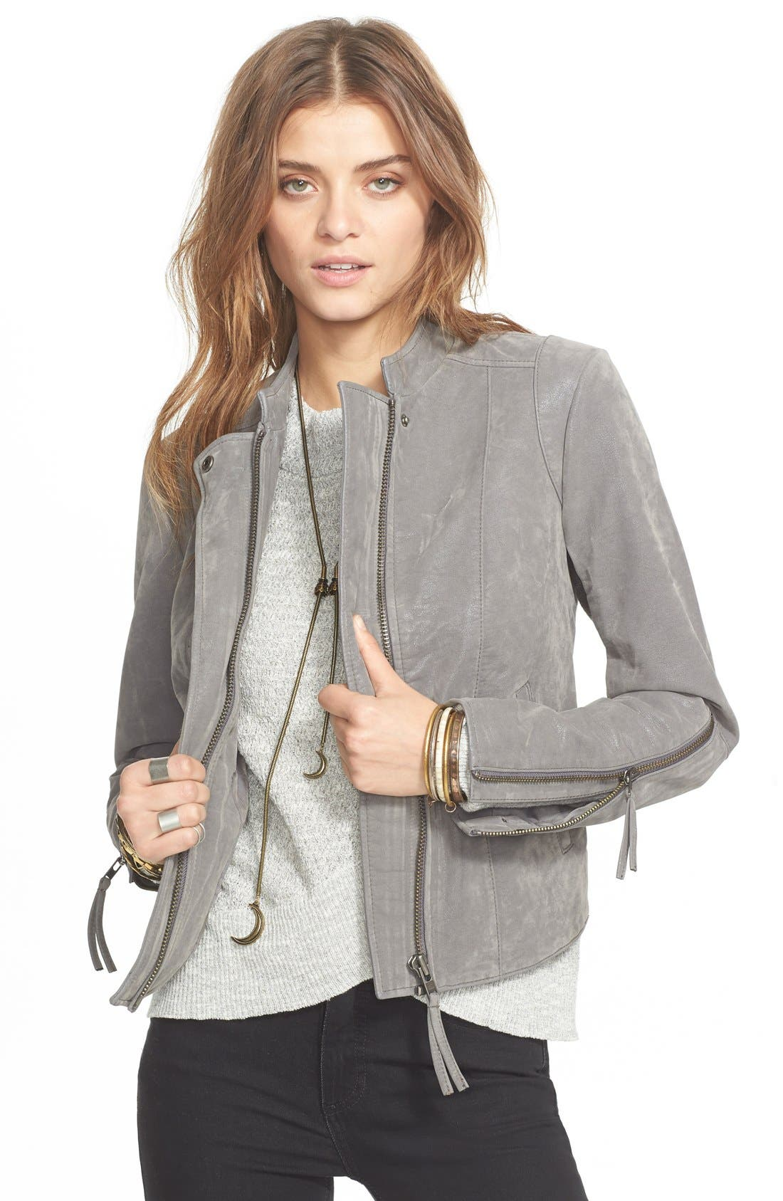 Faux Leather Jacket,                             Main thumbnail 4, color,