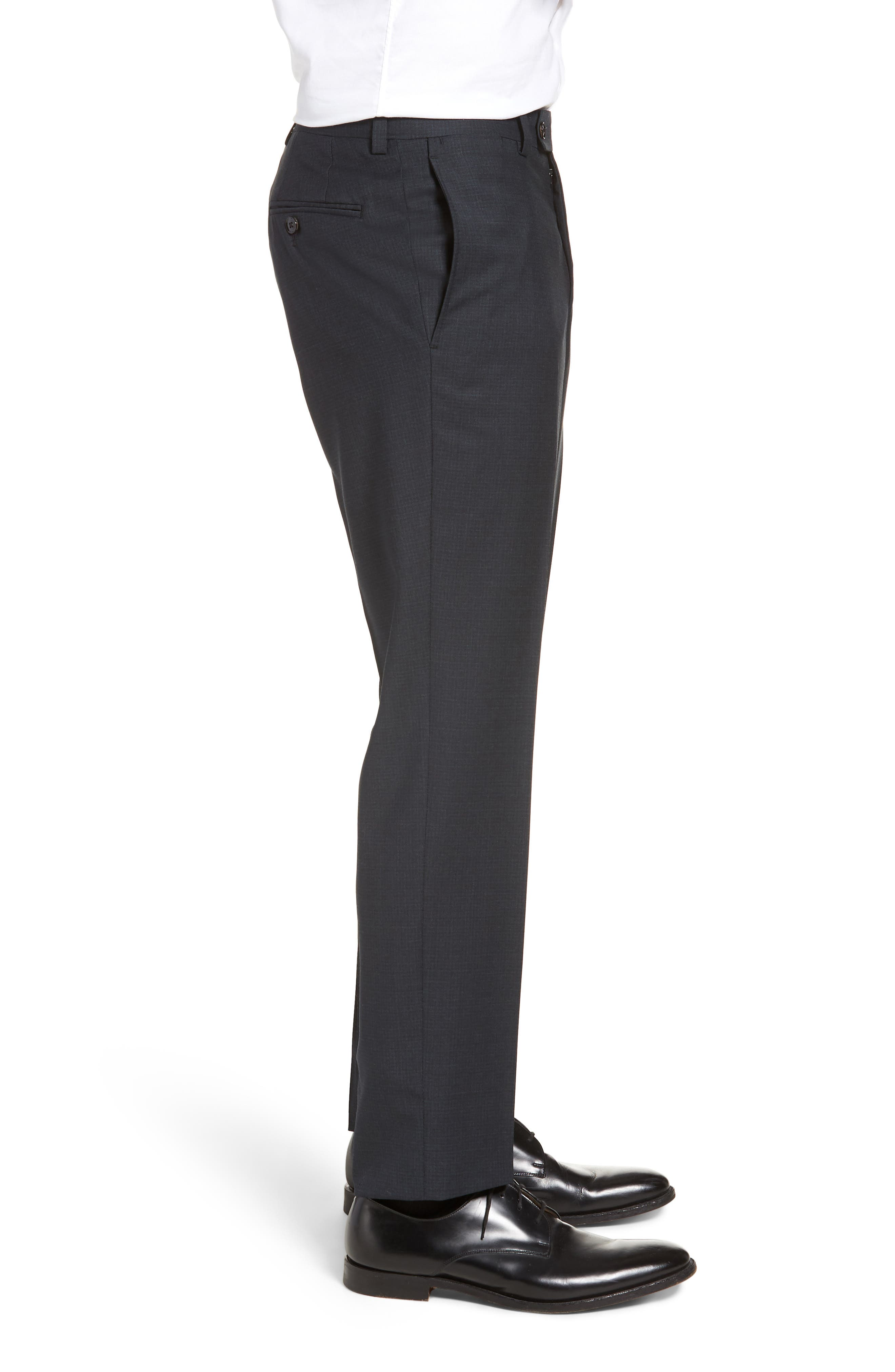 Jefferson Flat Front Check Wool Trousers,                             Alternate thumbnail 3, color,                             GREY