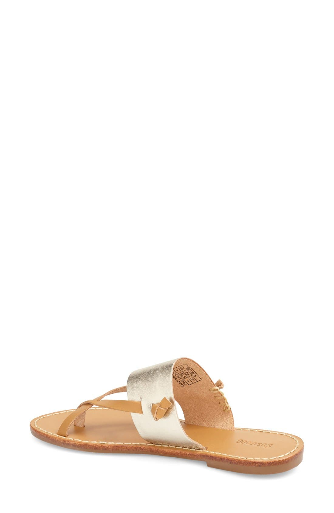 'Slotted' Thong Sandal,                             Alternate thumbnail 2, color,                             METALLIC/ PLATINUM LEATHER