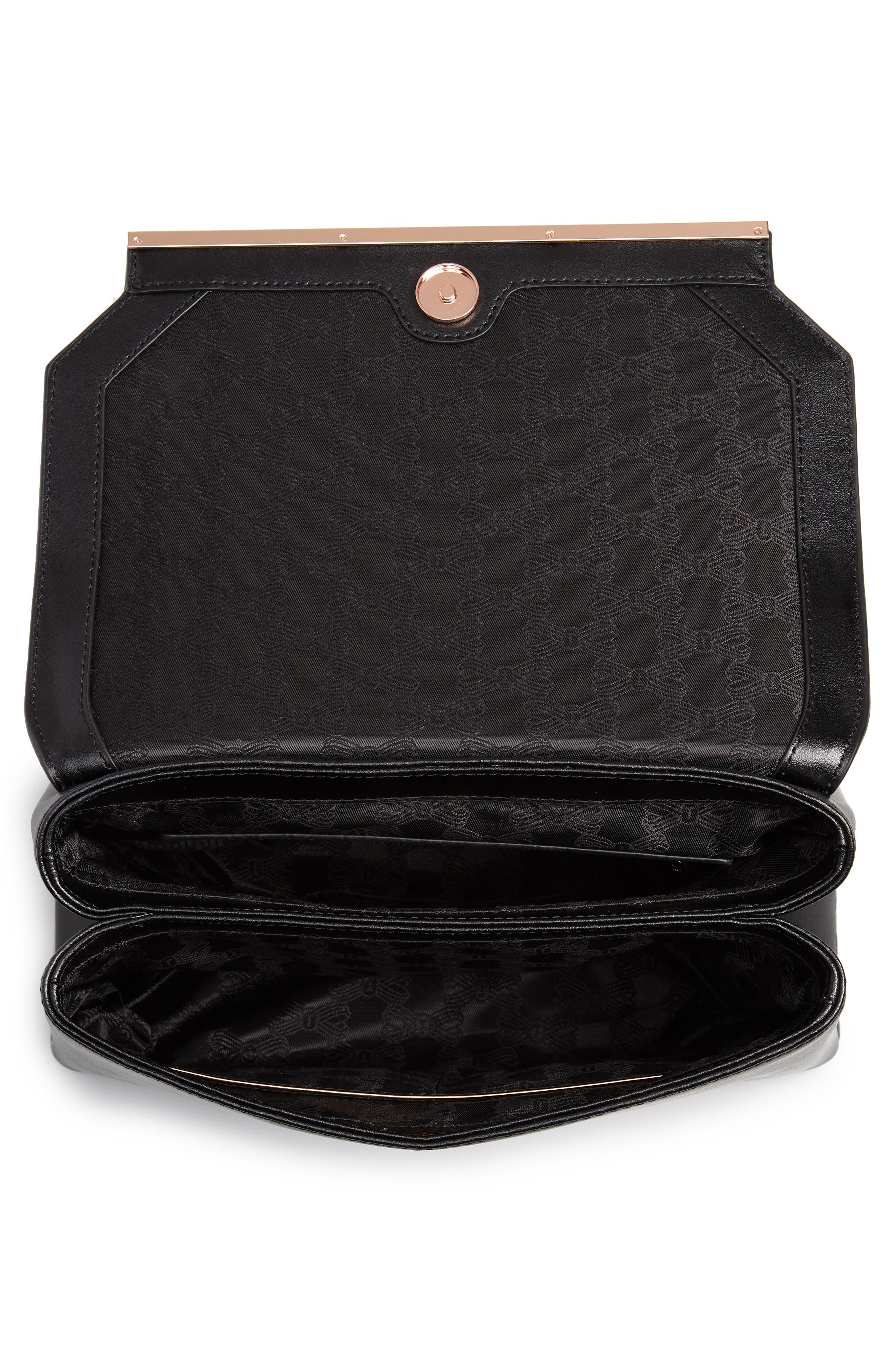 Crystal Bar Leather Top Handle Satchel,                             Alternate thumbnail 4, color,                             001