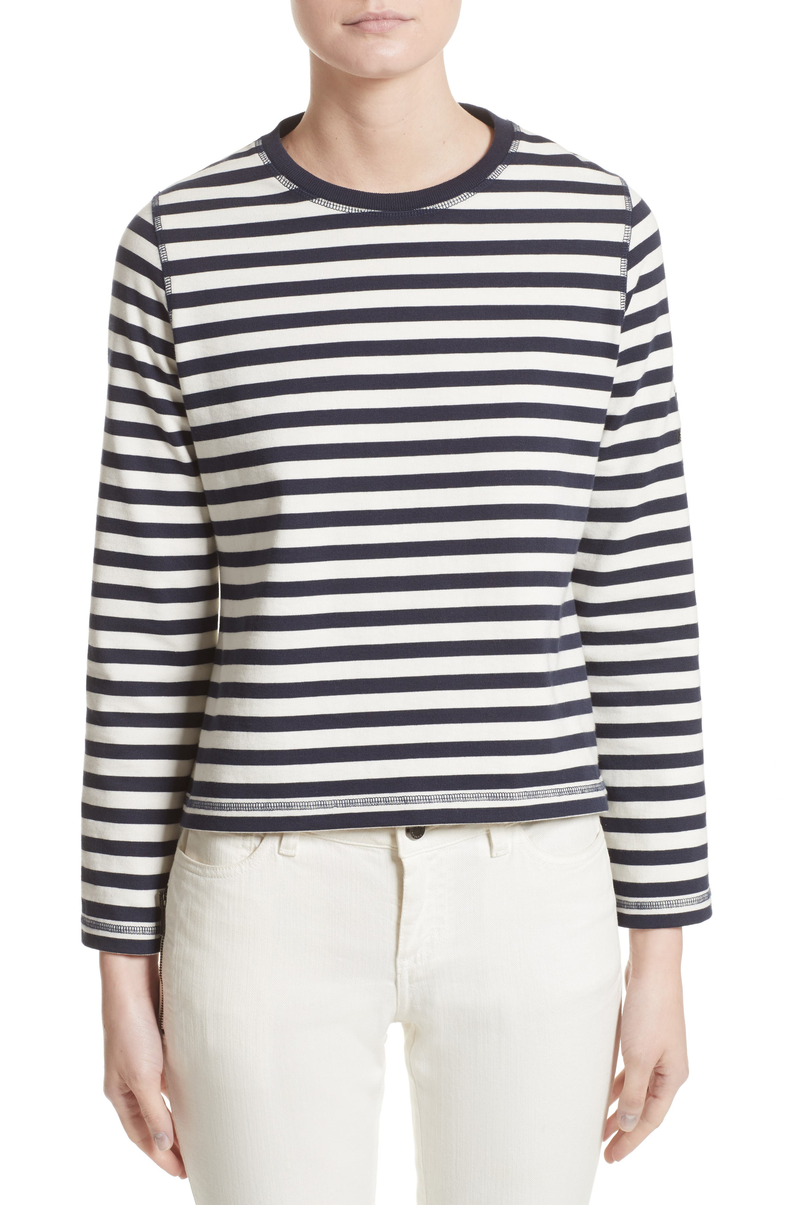 Christina Stripe Cotton Sweater,                             Main thumbnail 1, color,                             111