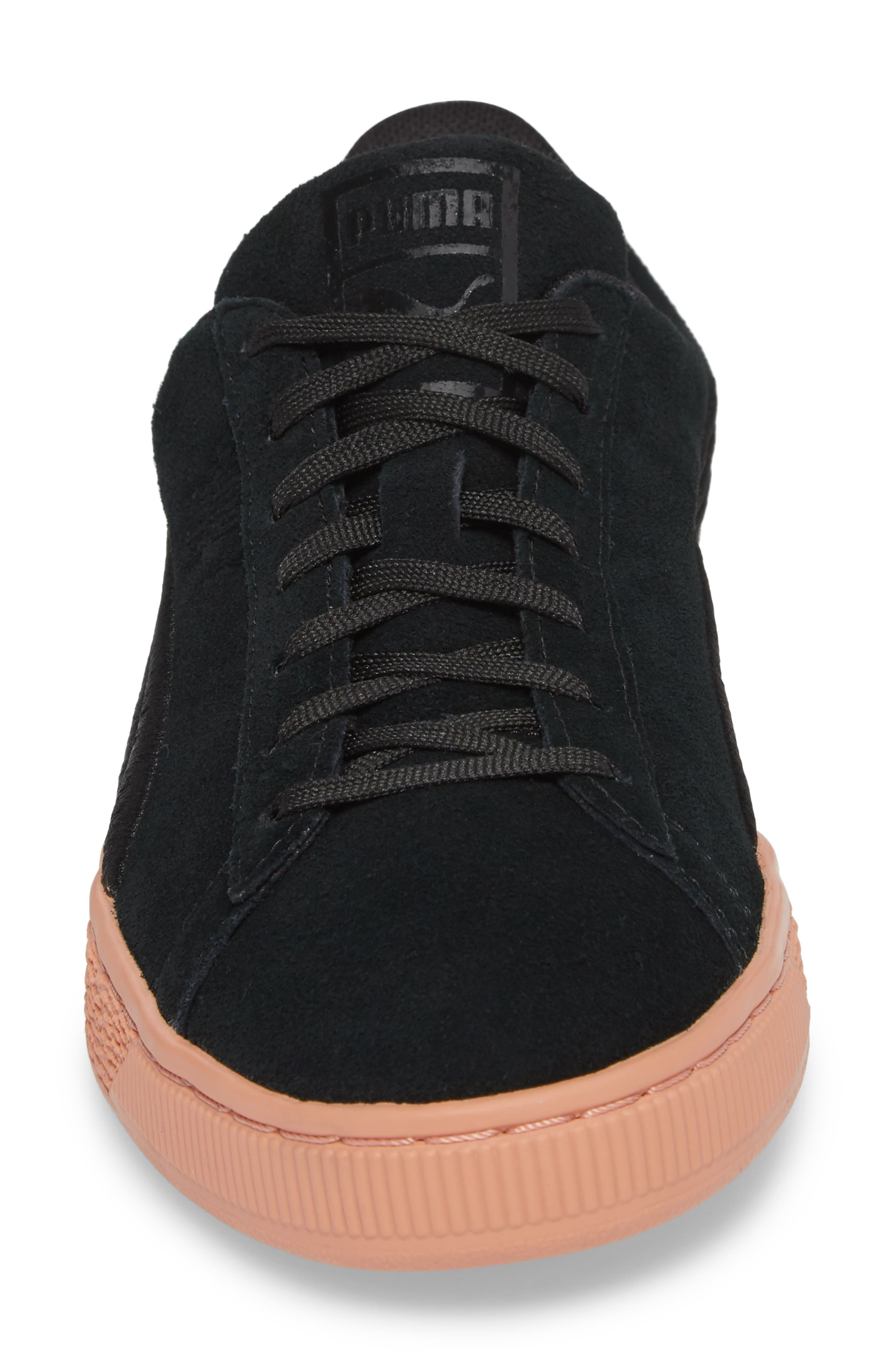 Suede Classic Bade Sneaker,                             Alternate thumbnail 4, color,                             001