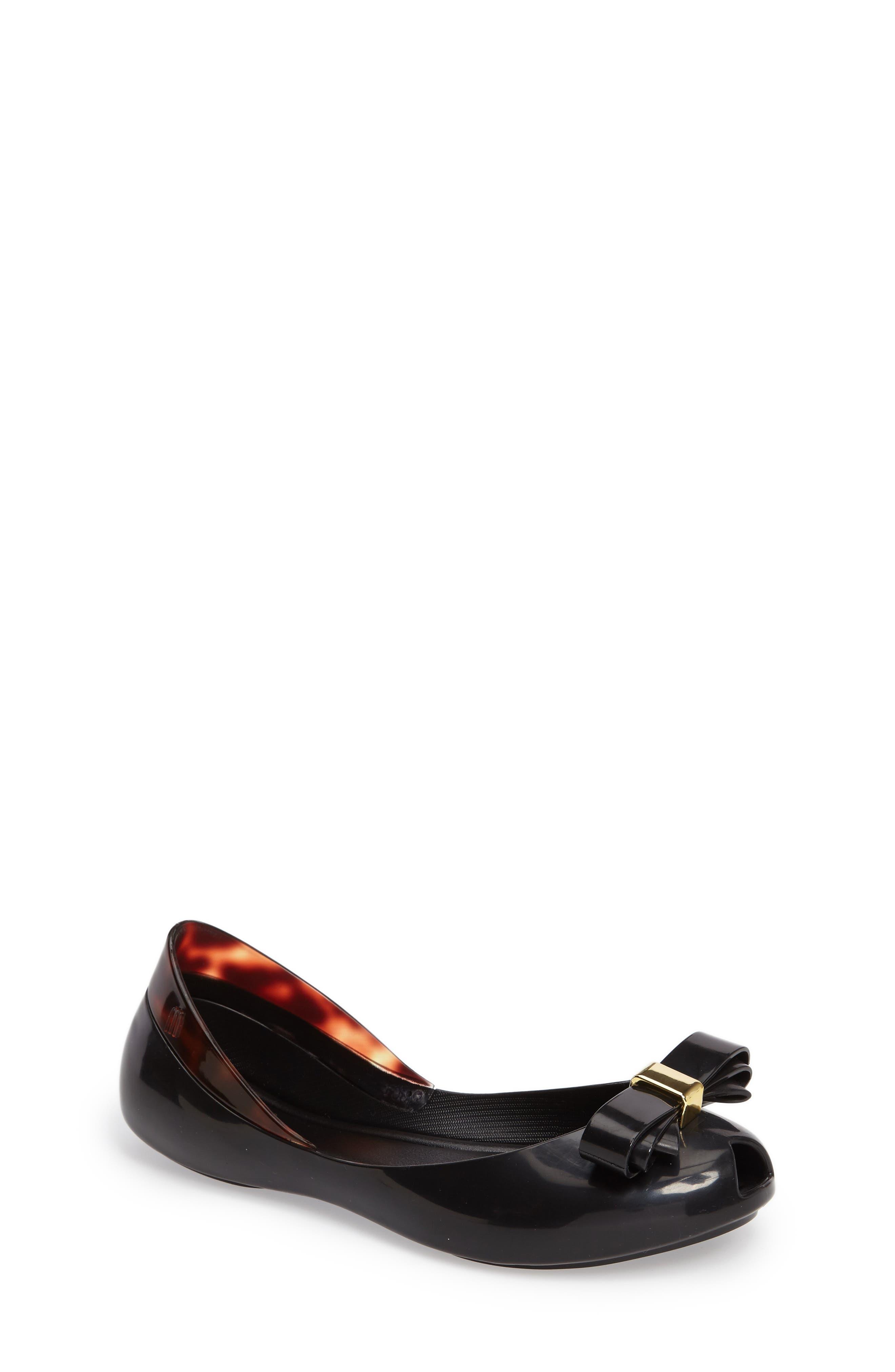 Queen III Peep Toe Flat,                         Main,                         color, 001