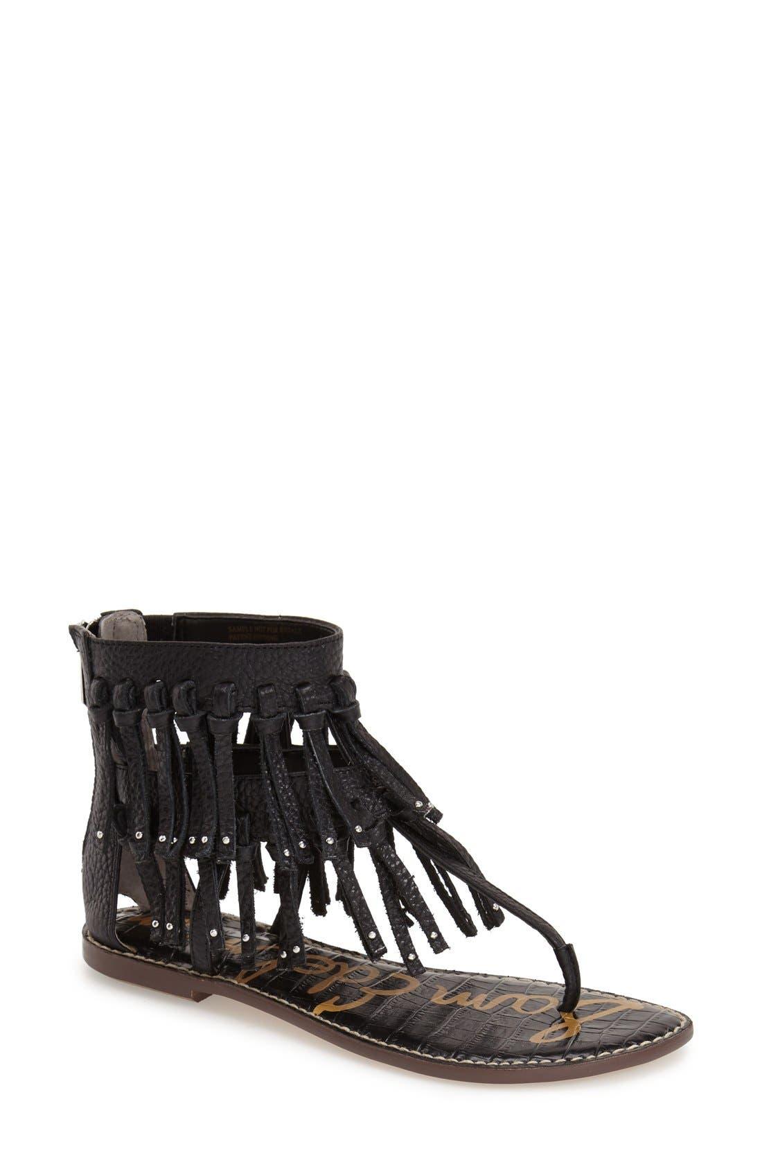 'Griffen' Fringe Sandal,                         Main,                         color, 001
