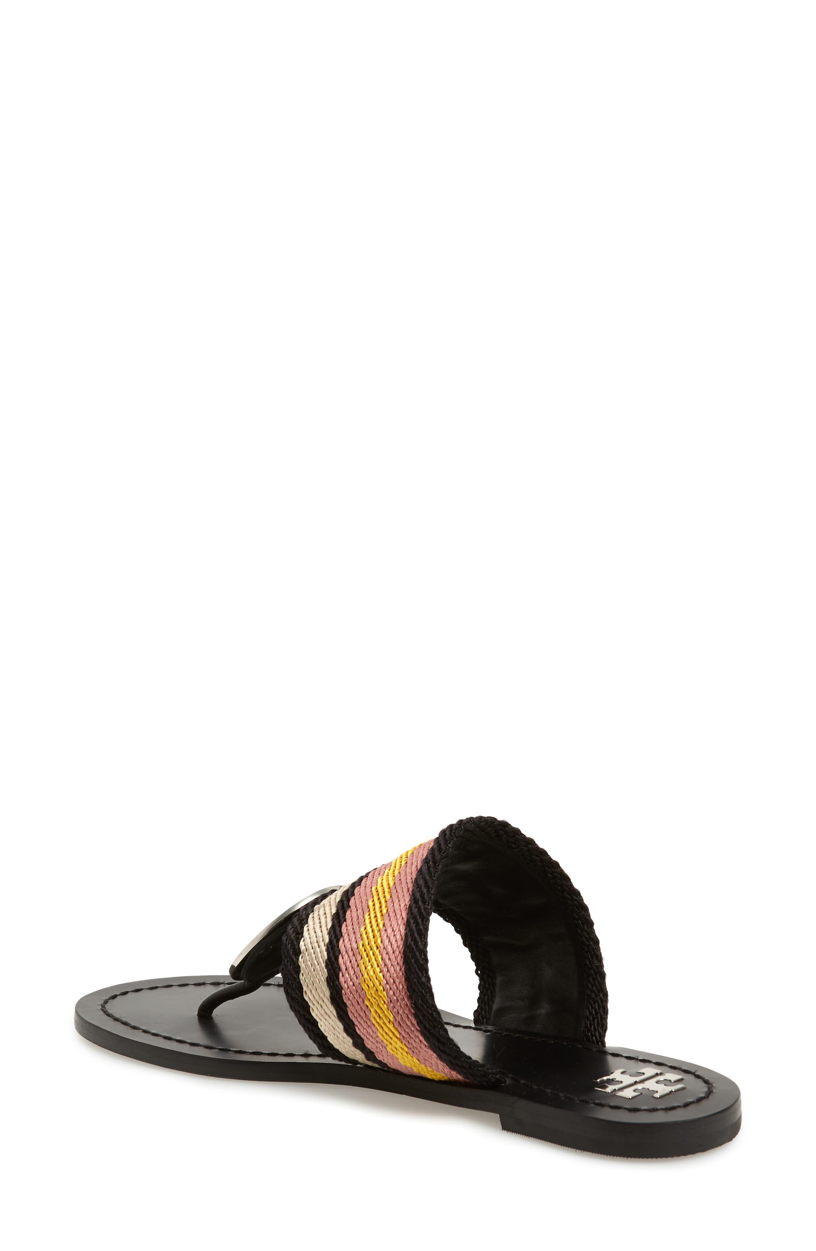 TORY BURCH,                             Patos Sandal,                             Alternate thumbnail 2, color,                             BLACK STRIPE/ PERFECT BLACK
