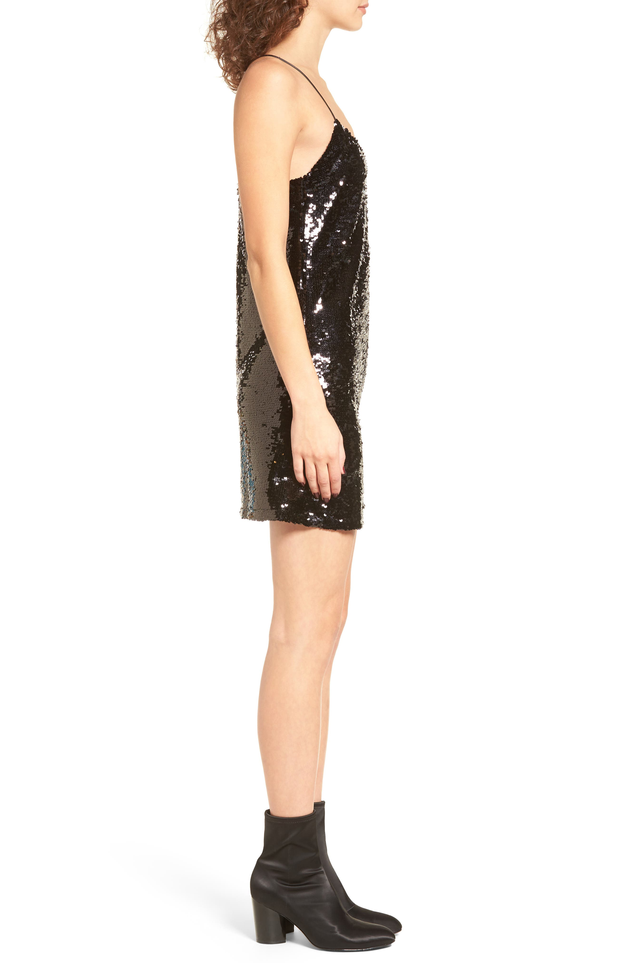 Bigby Sequin Slipdress,                             Alternate thumbnail 3, color,                             001