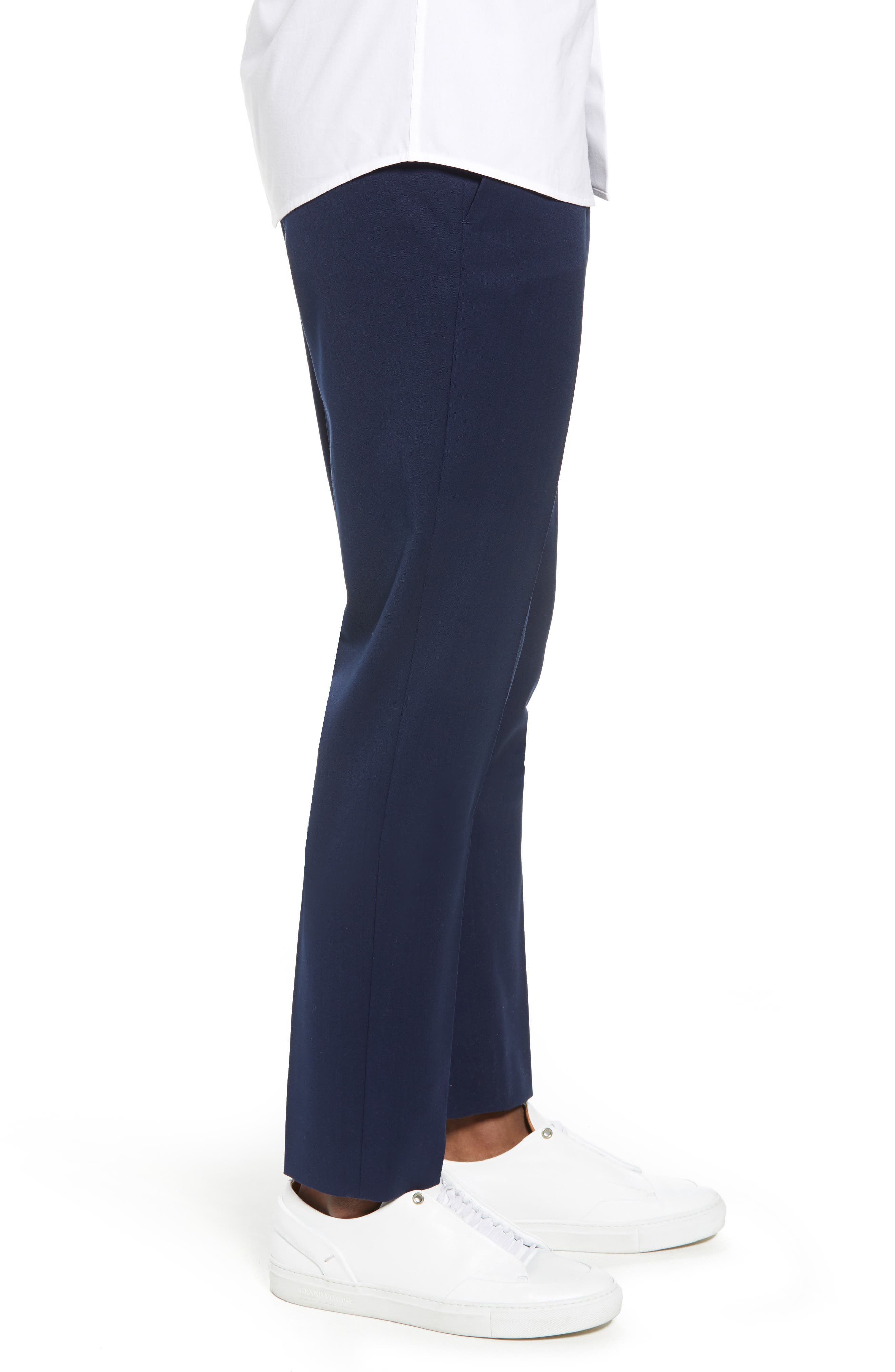 Muscle Fit Trousers,                             Alternate thumbnail 3, color,                             NAVY BLUE