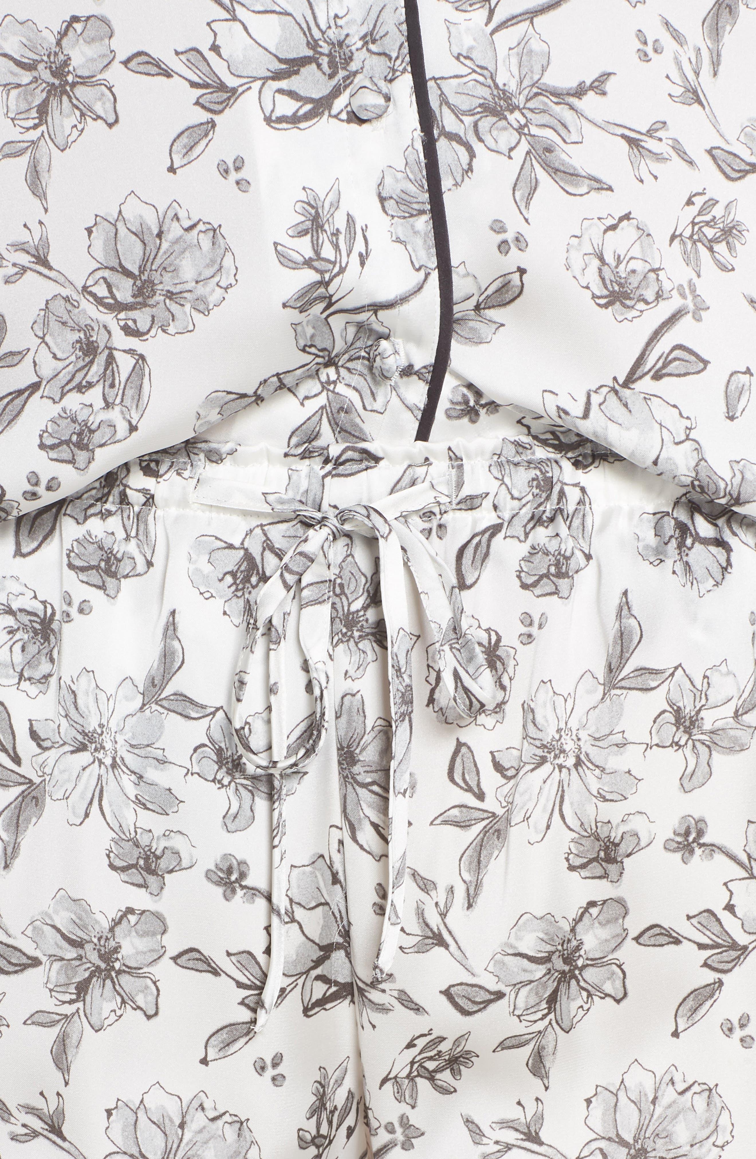 Satin Pajamas,                             Alternate thumbnail 4, color,                             IVORY EGRET LOVELY FLORAL