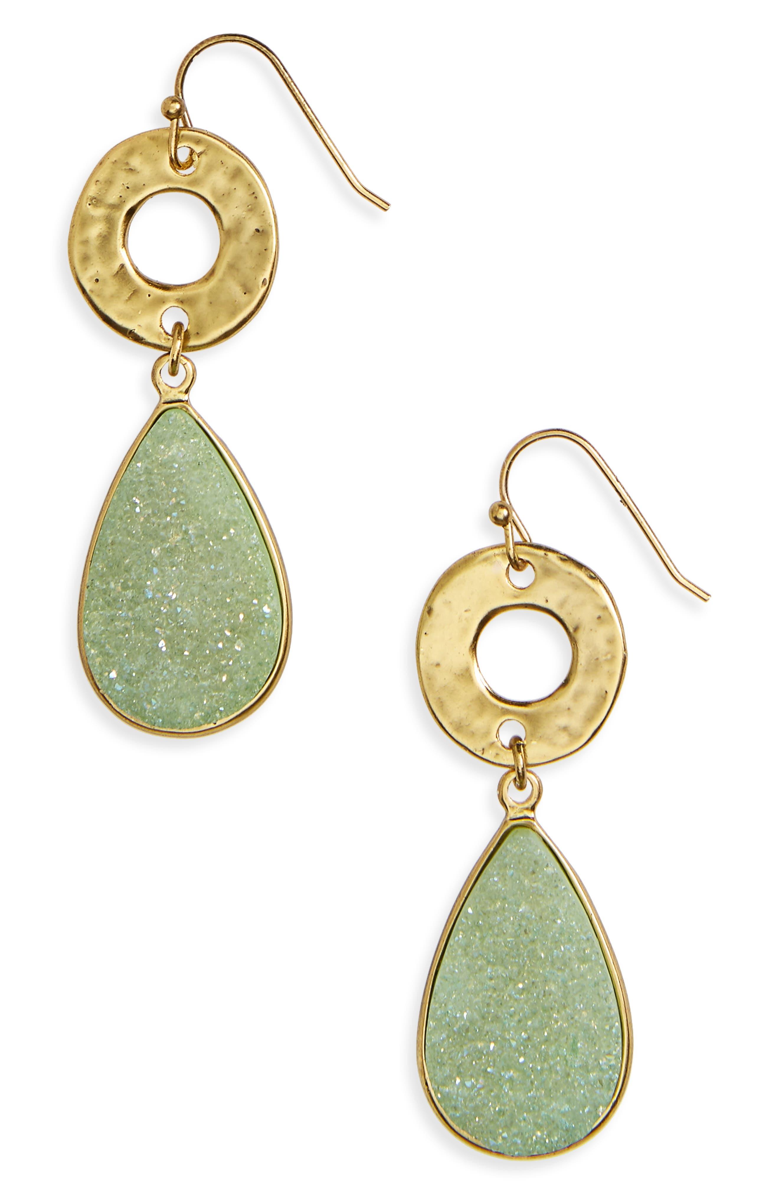 Drusy Drop Earrings,                             Main thumbnail 1, color,                             310