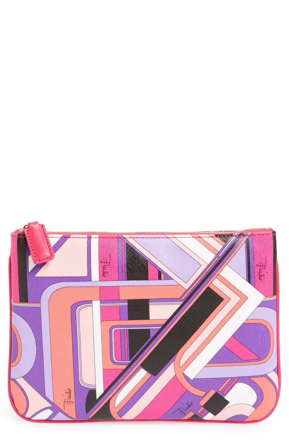 Print Flat Cosmetic Pouch, Main, color, 650
