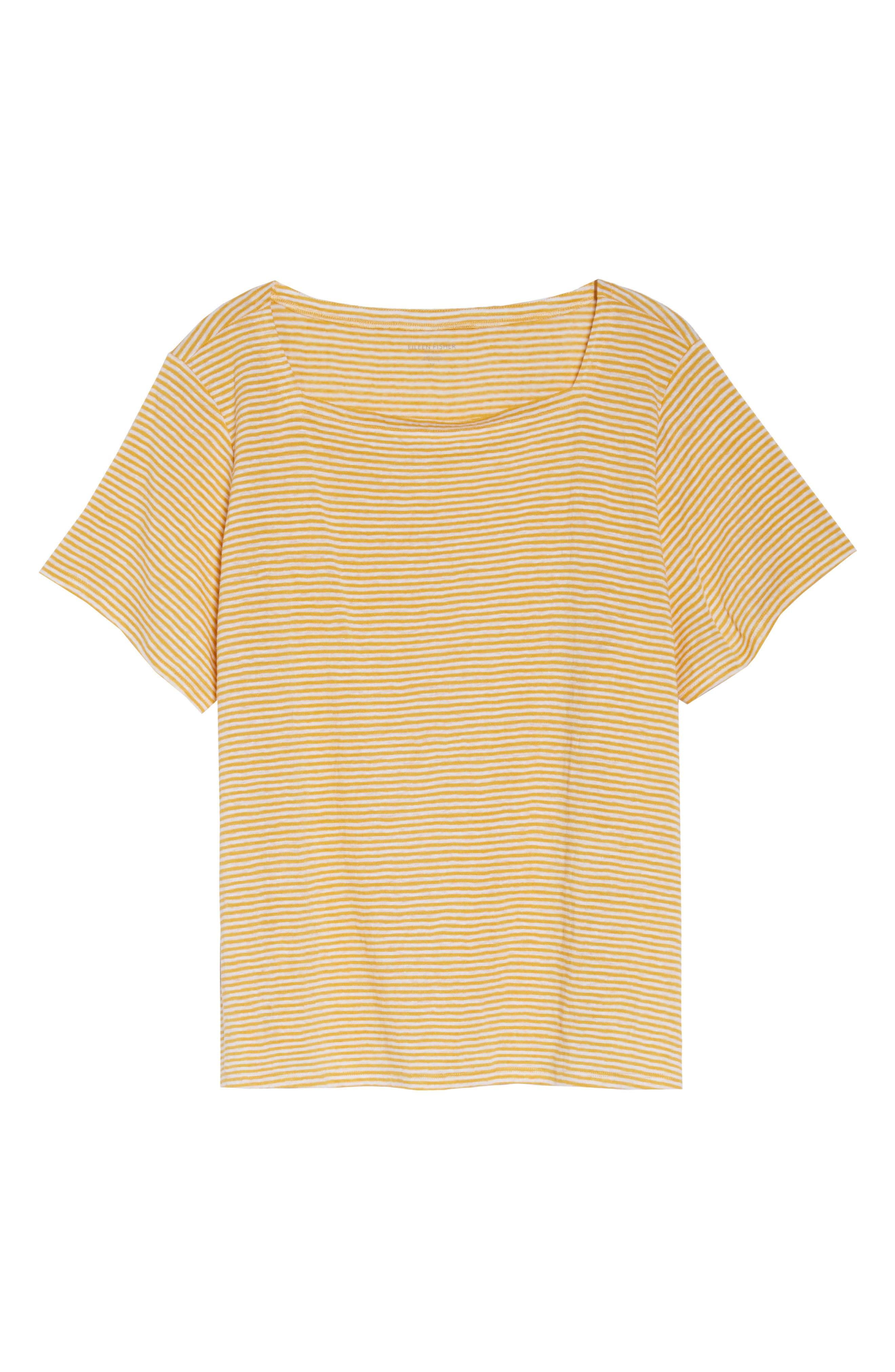 Square Neck Stripe Tee,                             Alternate thumbnail 6, color,                             MARIGOLD