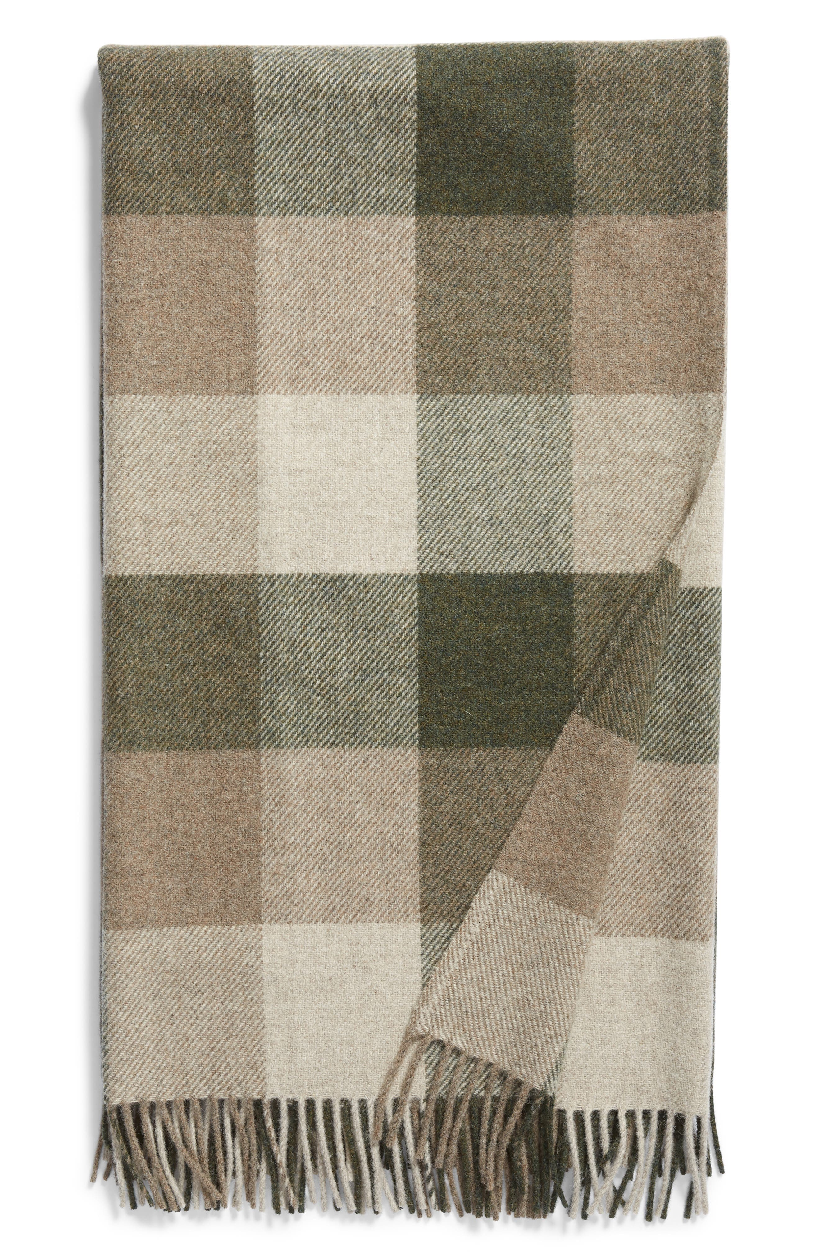 Plaid Washable Wool Throw,                         Main,                         color, JUNIPER/ FAWN