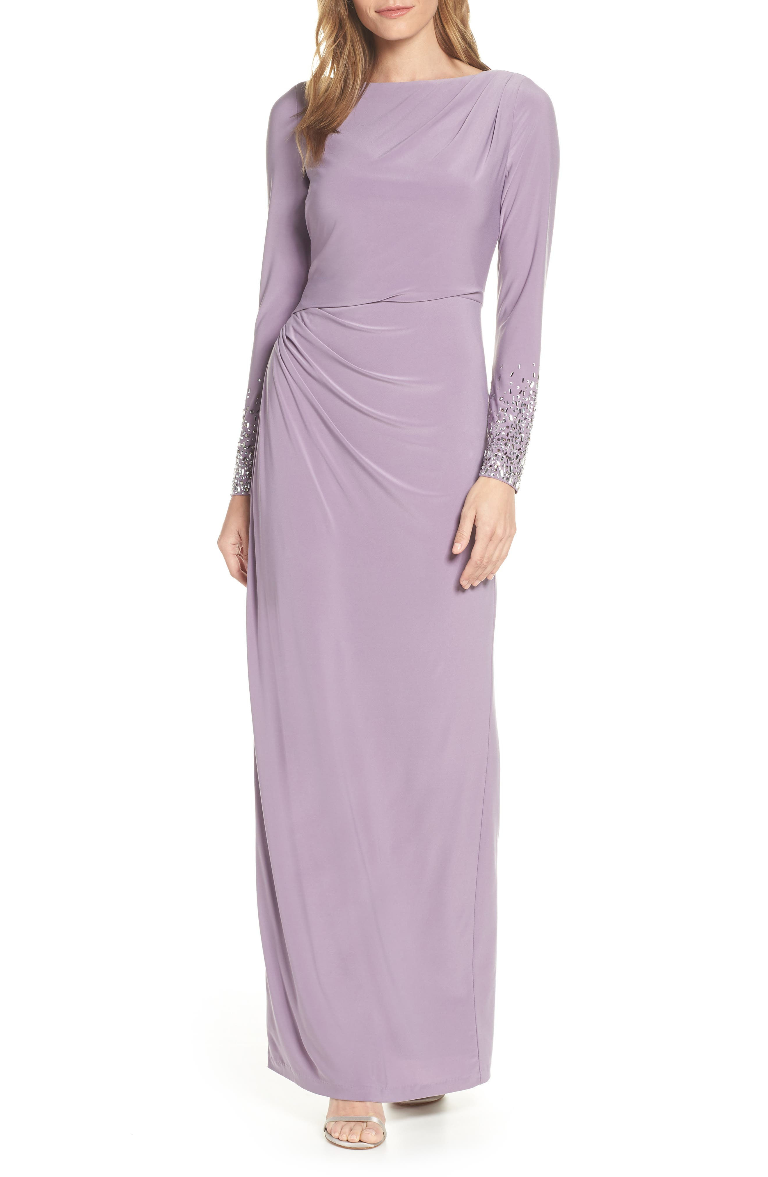 VINCE CAMUTO,                             Embellished Sleeve Ruched Evening Dress,                             Main thumbnail 1, color,                             LILAC