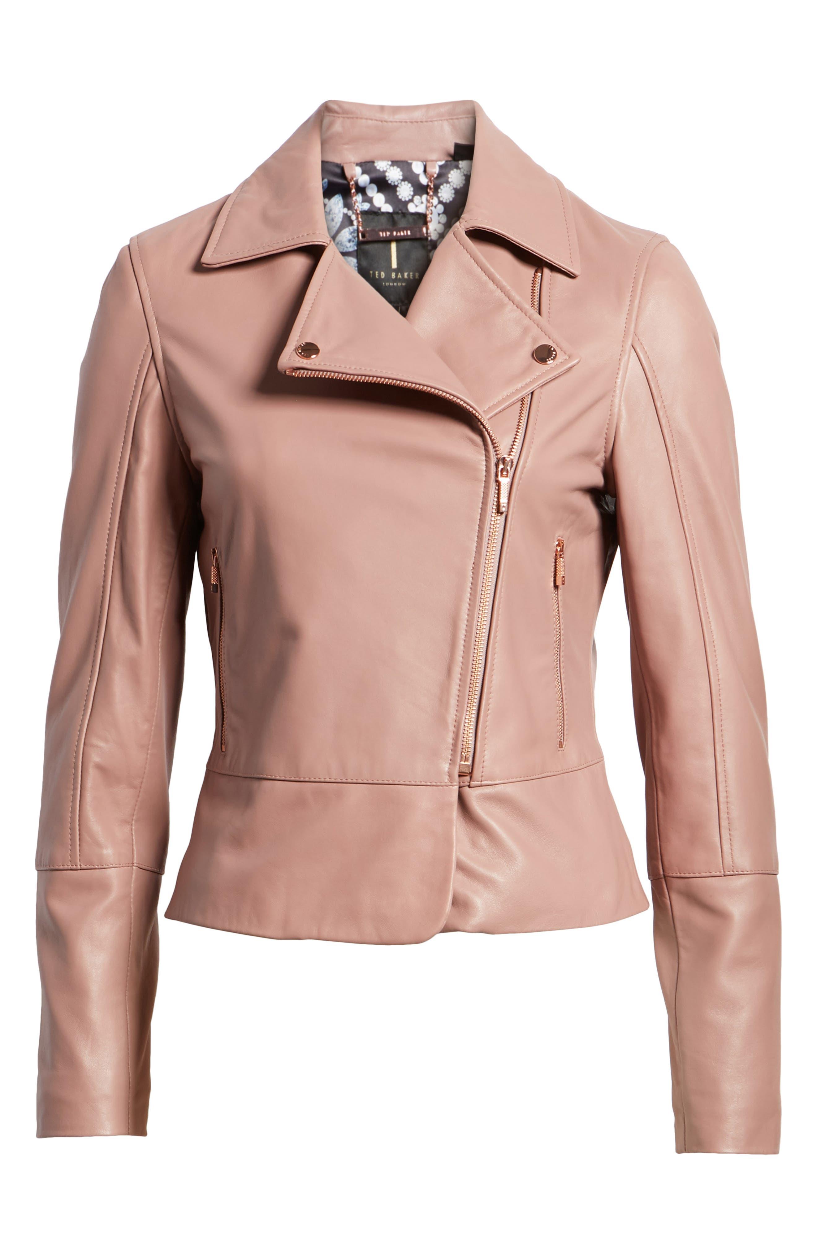 Lizia Leather Biker Jacket,                             Alternate thumbnail 11, color,