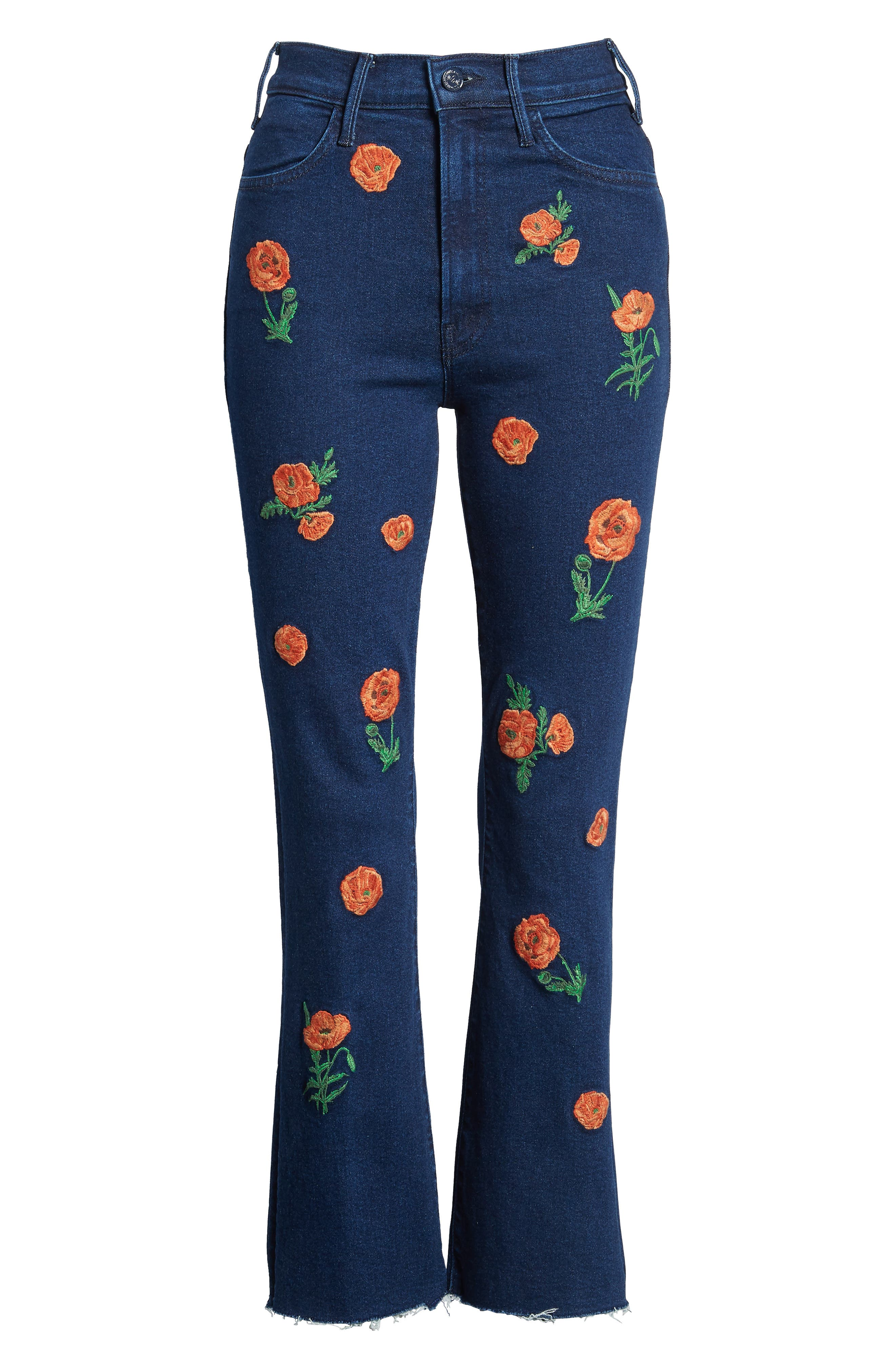 The Hustler Embroidered Fray Ankle Bootcut Jeans,                             Alternate thumbnail 7, color,                             001