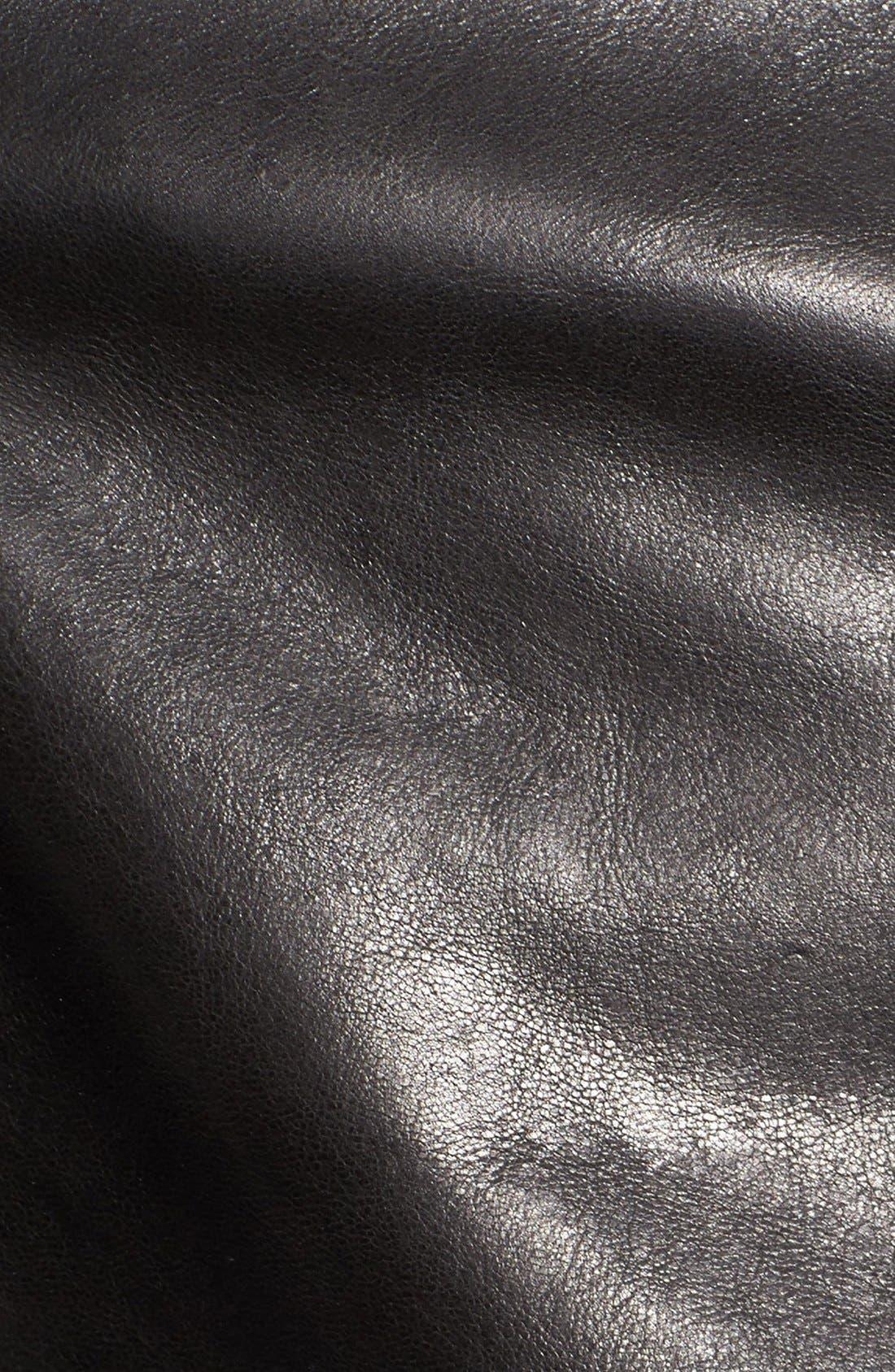 Waxy Leather Moto Jacket,                             Alternate thumbnail 5, color,                             BLACK