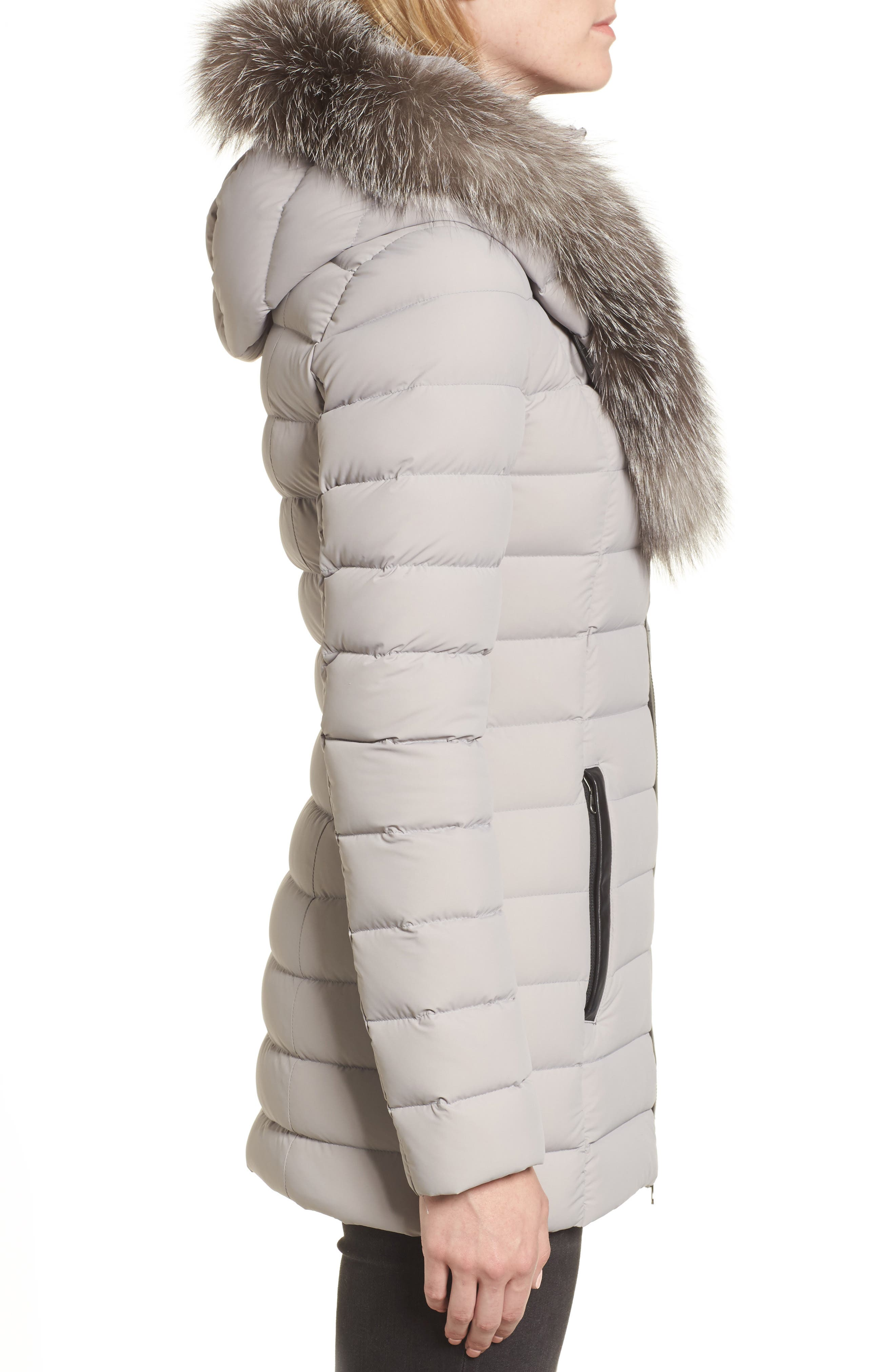 Kadalina Down Jacket with Genuine Fox Fur Trim,                             Alternate thumbnail 3, color,                             082