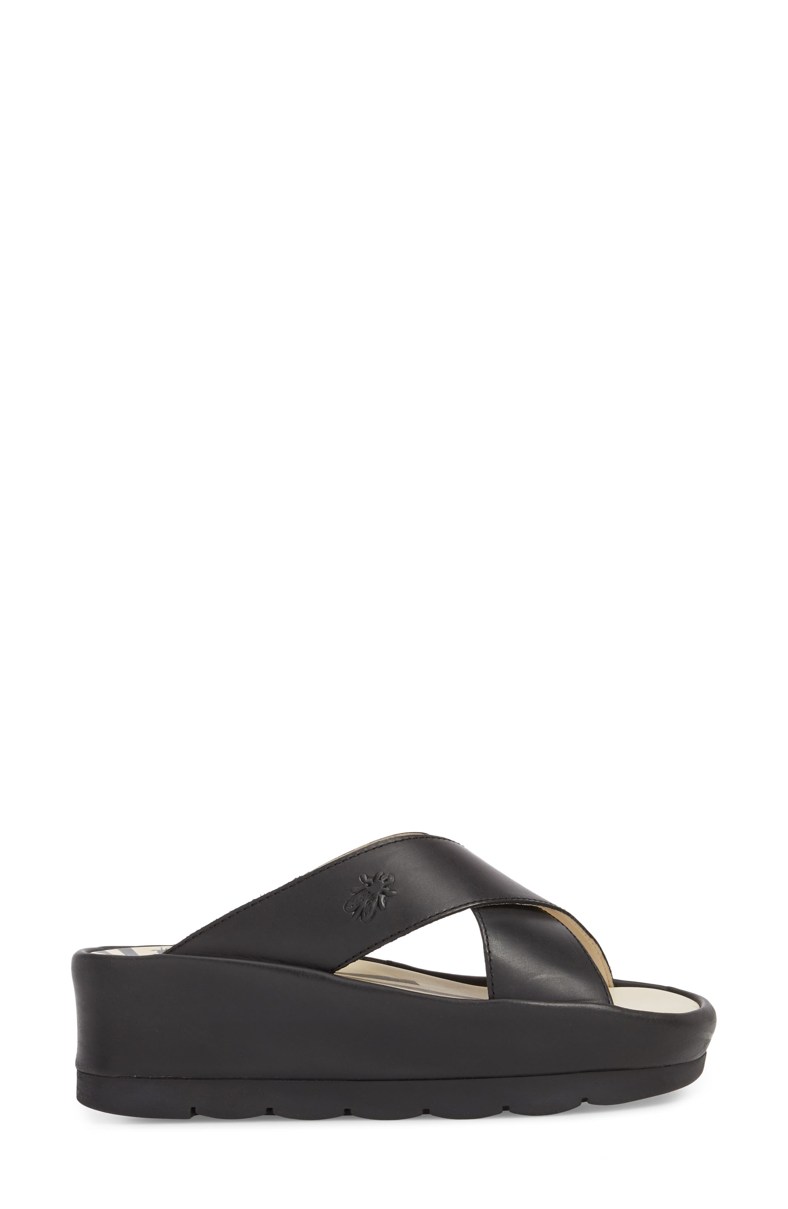 Begs Platform Slide Sandal,                             Alternate thumbnail 3, color,                             BLACK RUG LEATHER