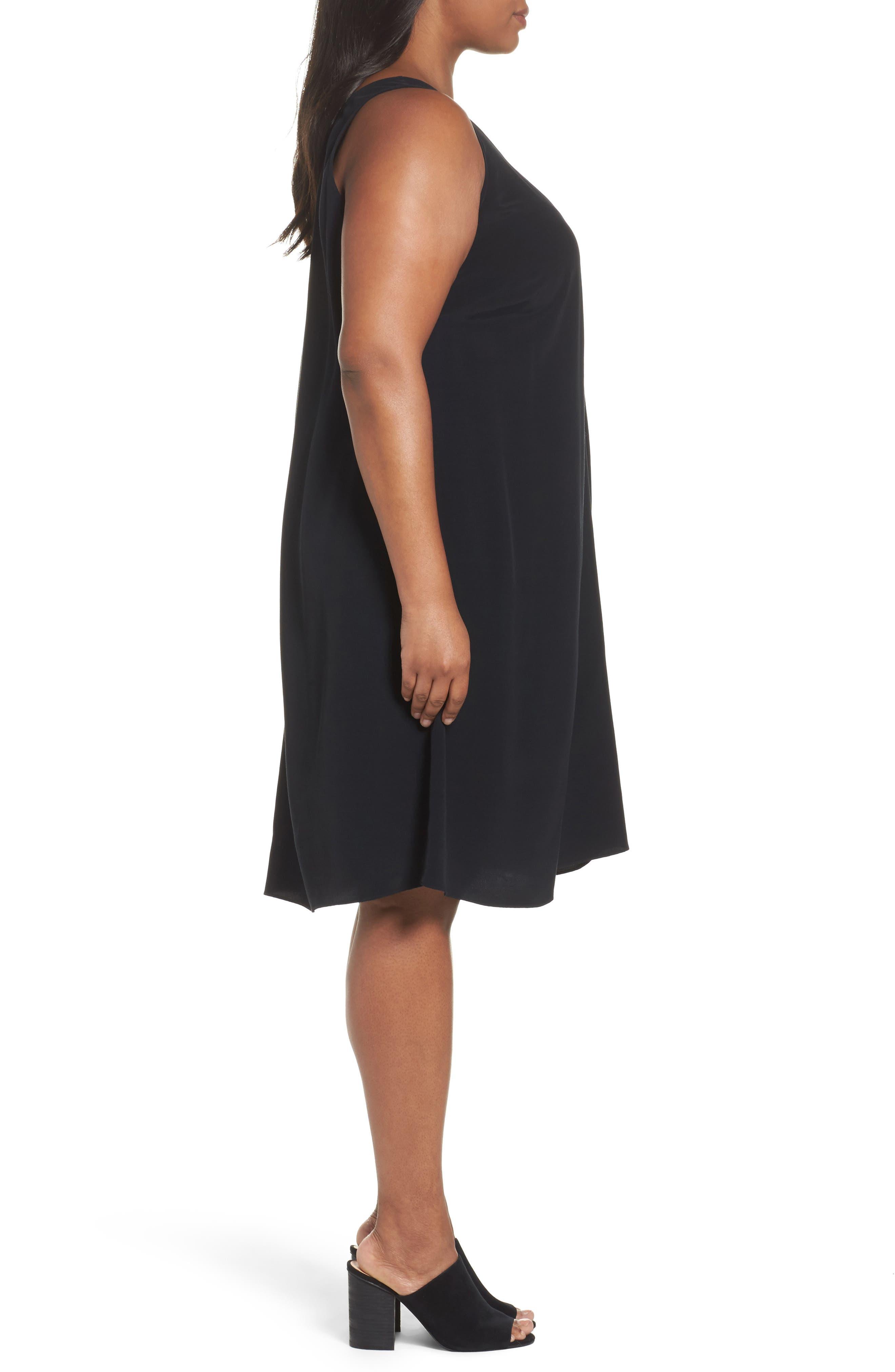 Tencel<sup>®</sup> Blend A-Line Shift Dress,                             Alternate thumbnail 3, color,                             001