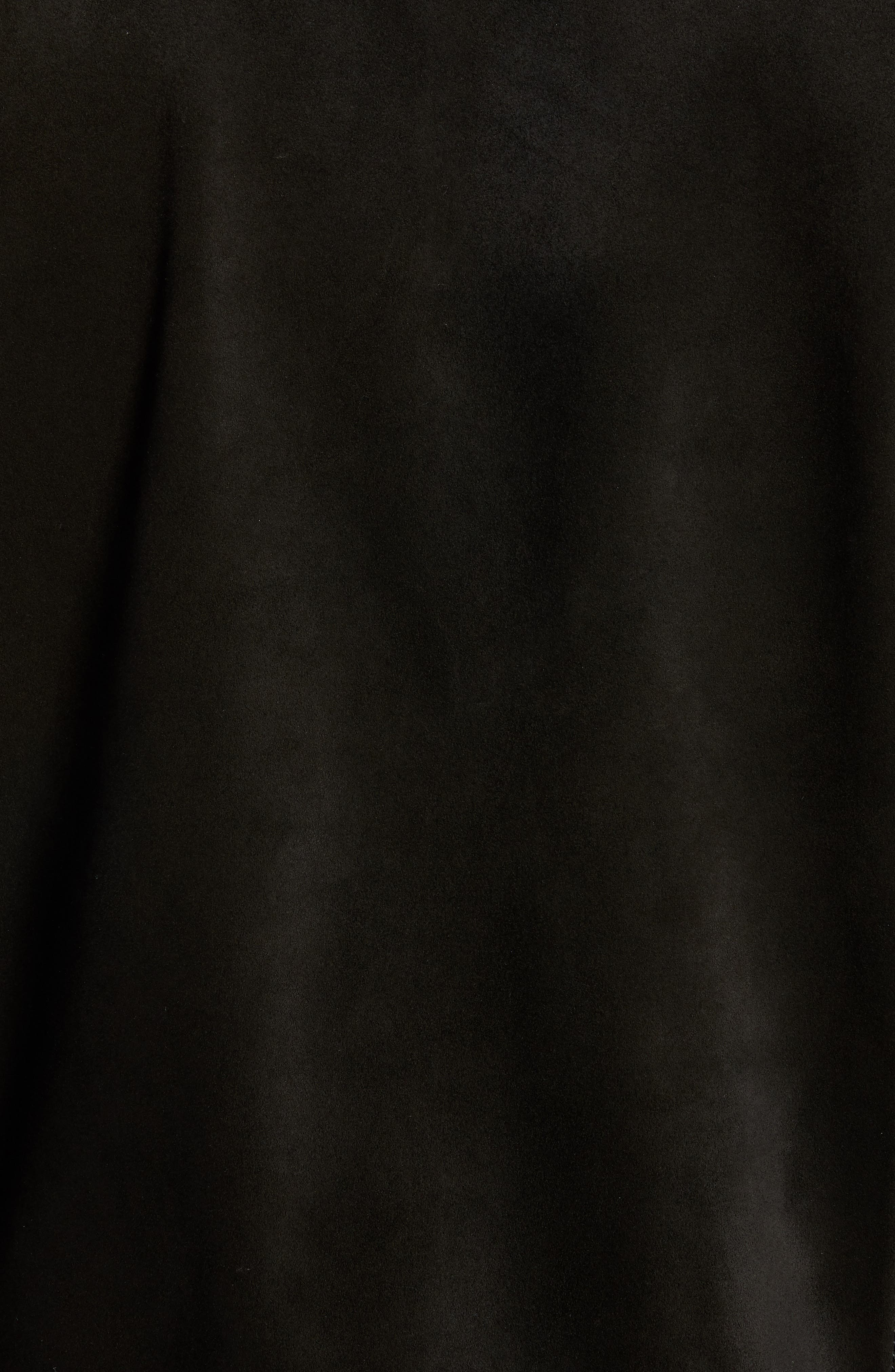 Suede Slim Fit Trucker Jacket,                             Alternate thumbnail 7, color,                             BLACK