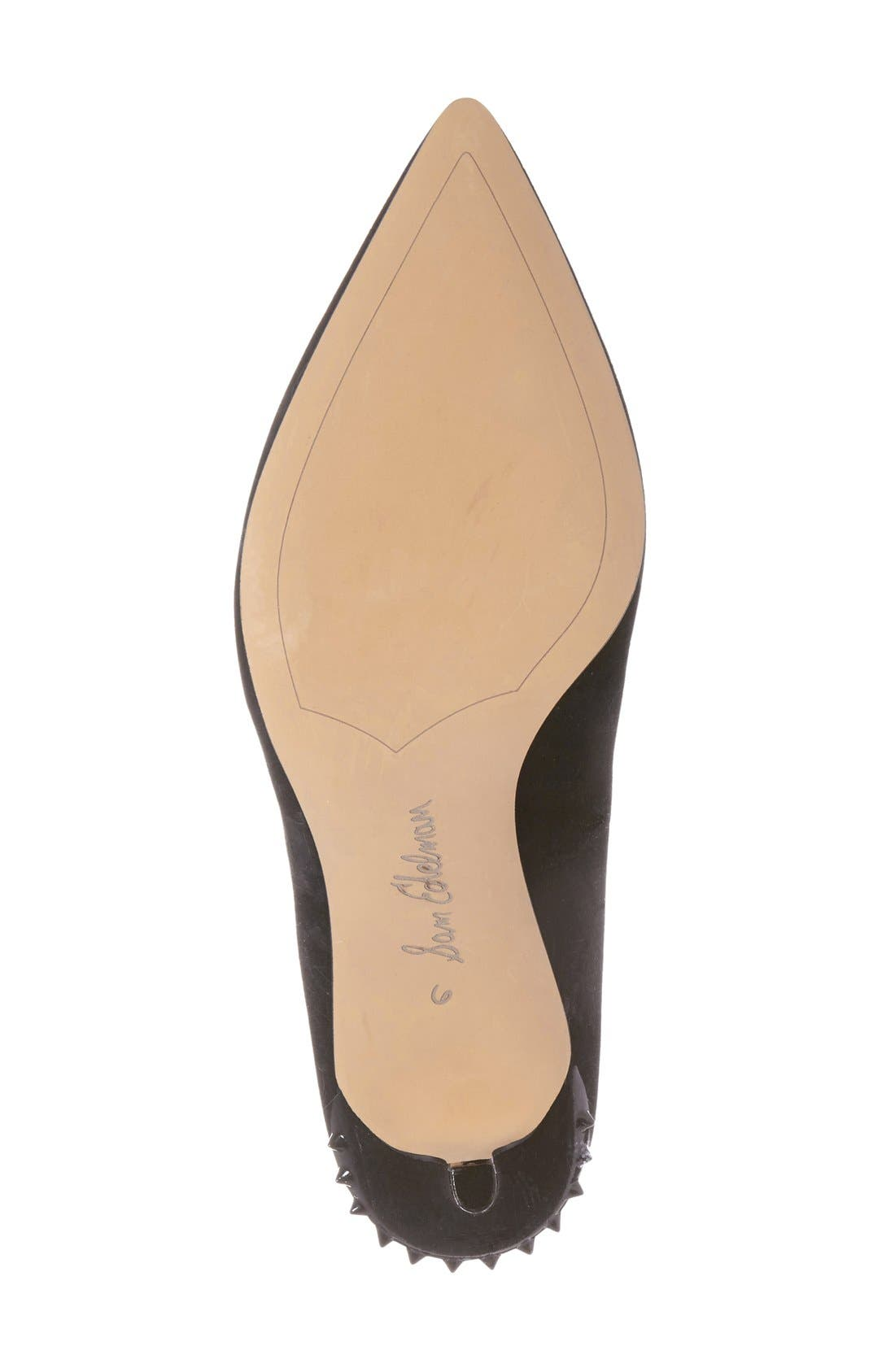 'Tonia' Spike Rand Pointy Toe Pump,                             Alternate thumbnail 4, color,                             004