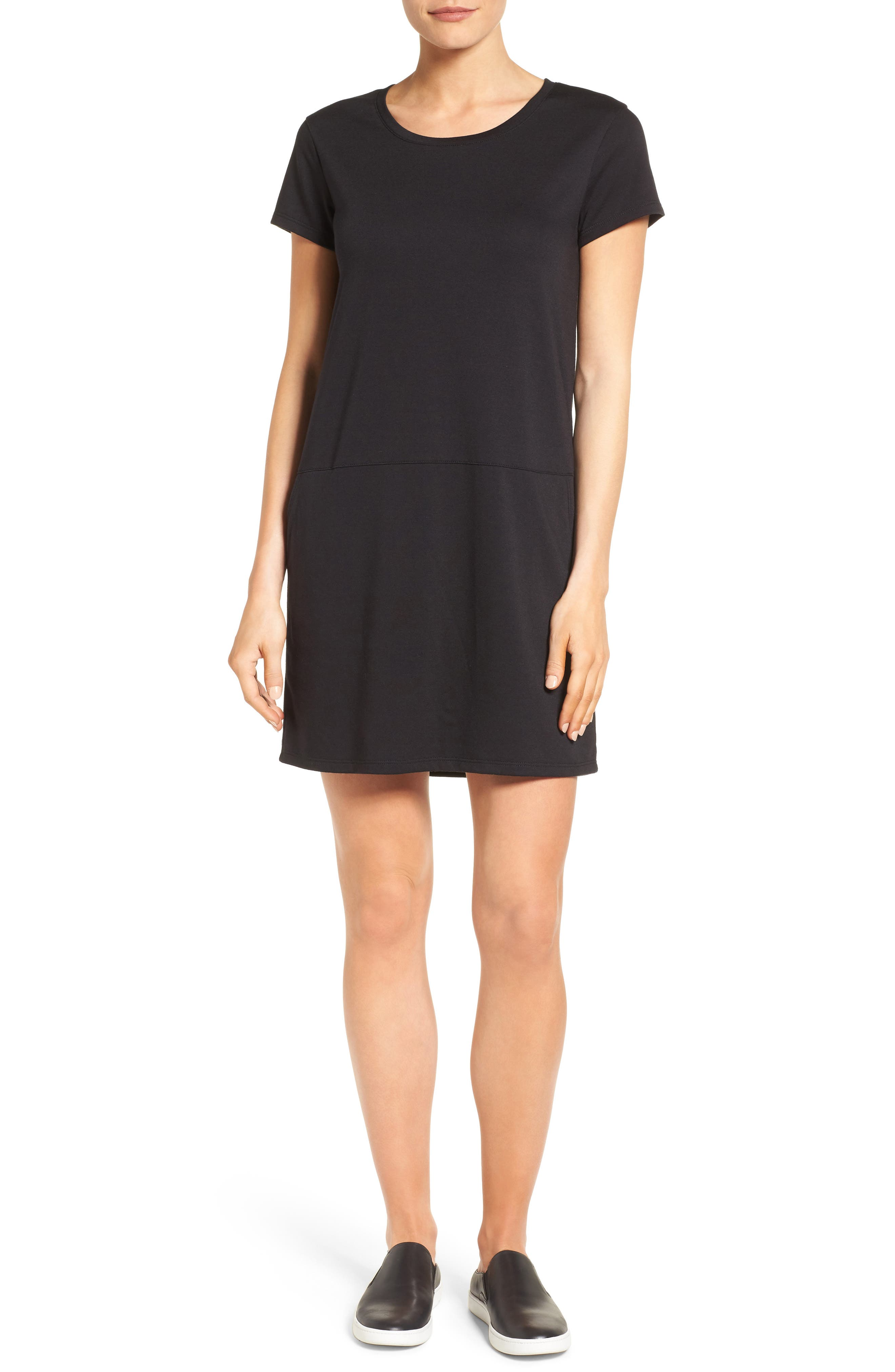 Knit Shift Dress,                         Main,                         color, BLACK