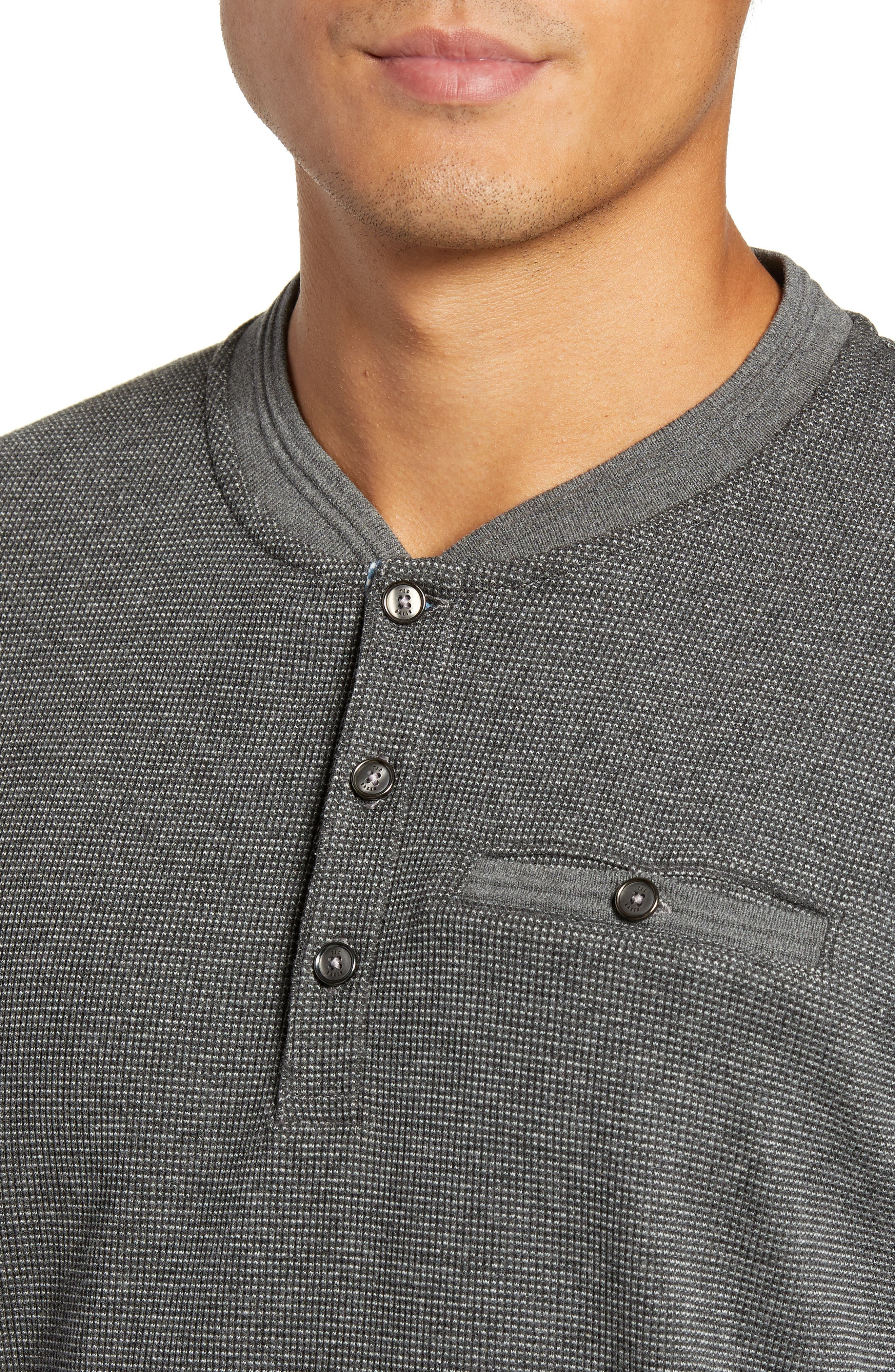 Slim Fit Mojave Thermal Pocket Henley,                             Alternate thumbnail 4, color,                             CHARCOAL
