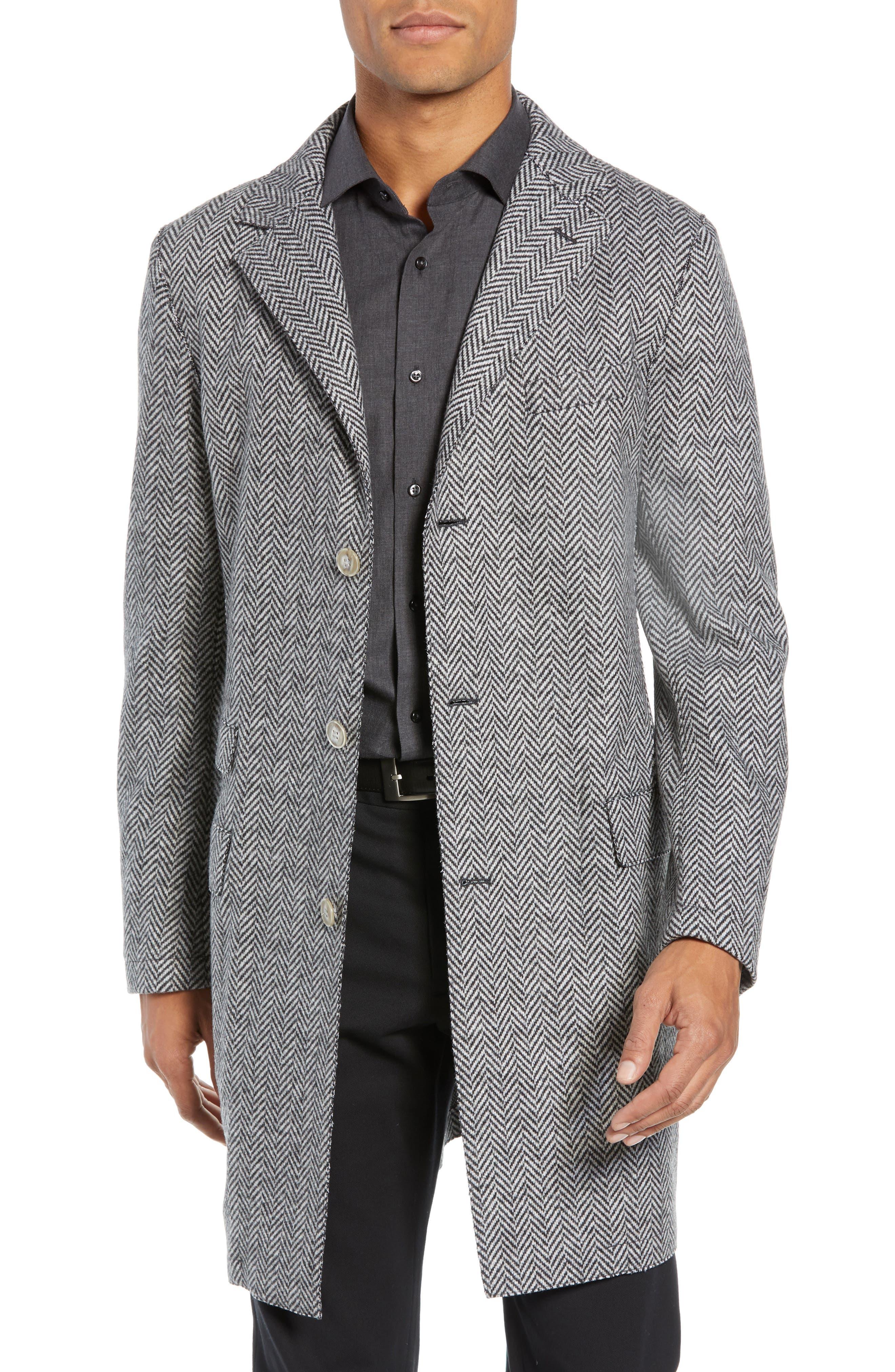 Trim Fit Wool Blend Top Coat,                         Main,                         color, GREY