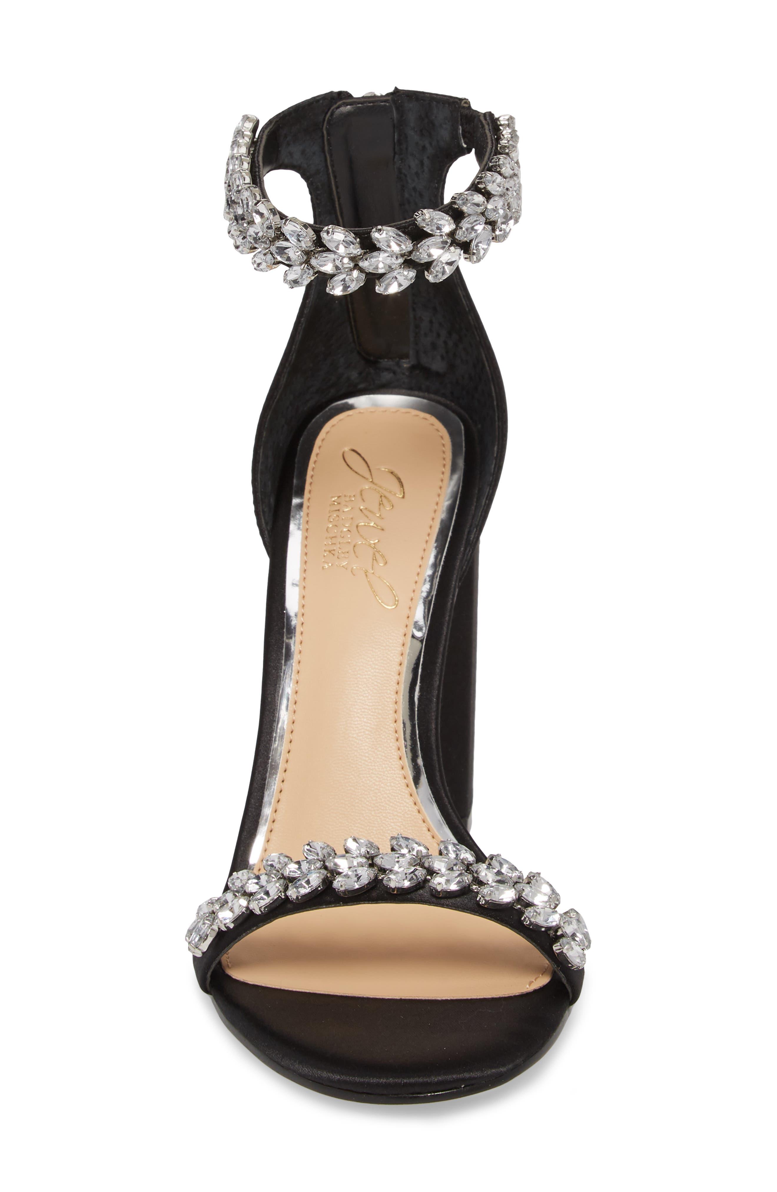 Jewel by Badgley Mischka Mayra Embellished Ankle Strap Sandal,                             Alternate thumbnail 4, color,                             BLACK SATIN