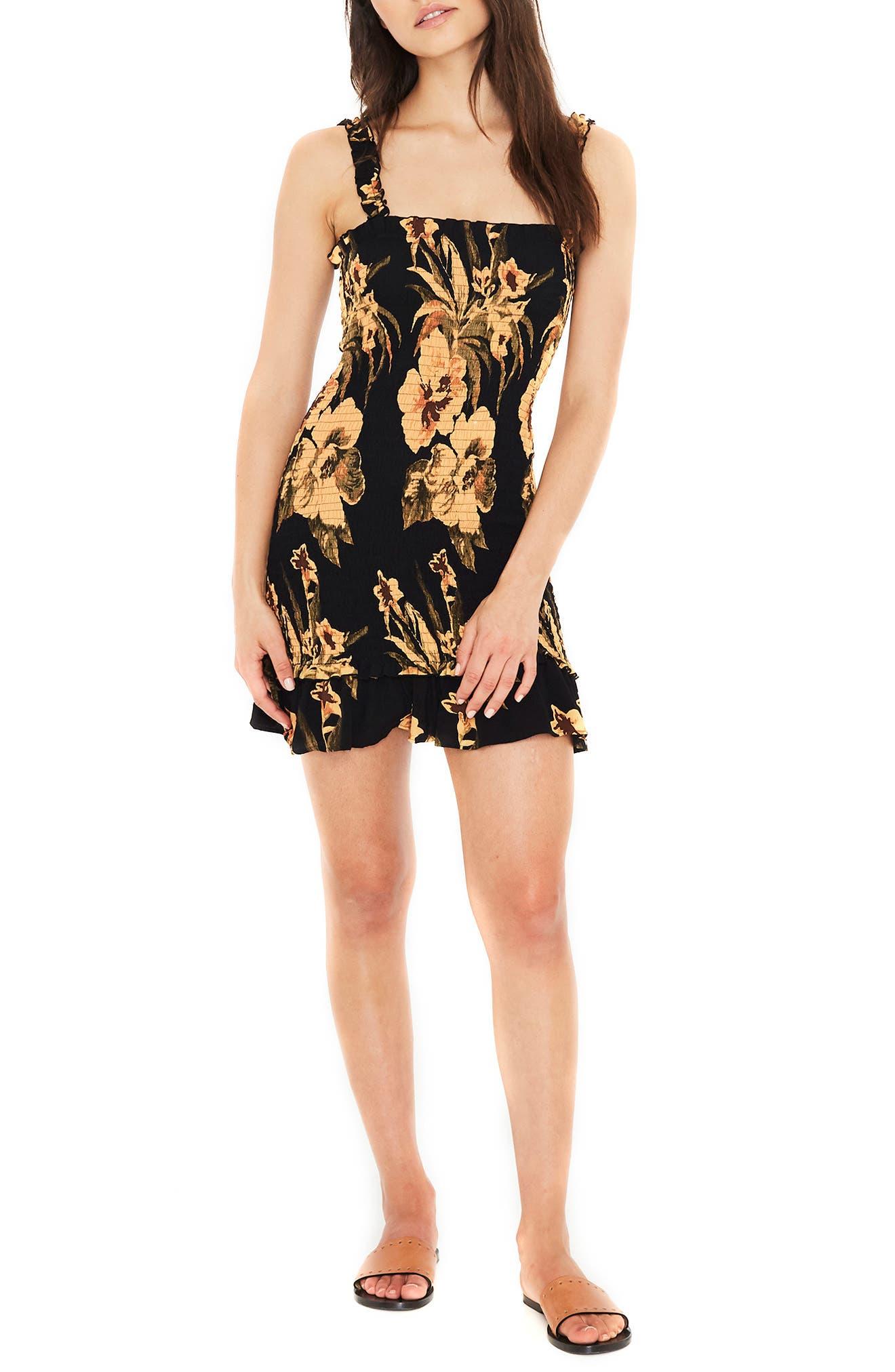 Del Mar Smocked Dress,                             Main thumbnail 1, color,                             CARIBBEAN PRINT